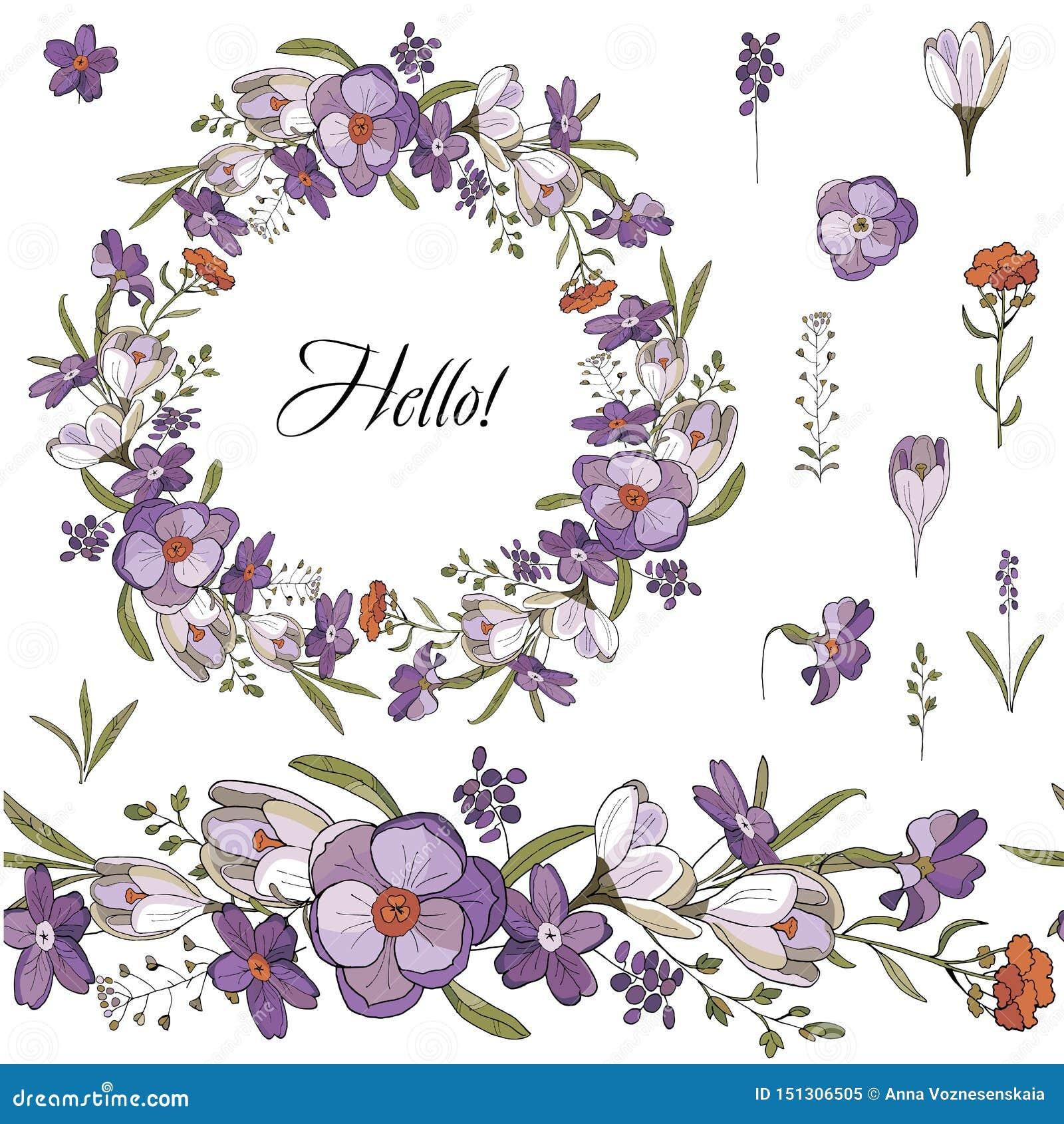 Escova e grinalda sem emenda de flores da mola no fundo branco Grinalda do açafrão