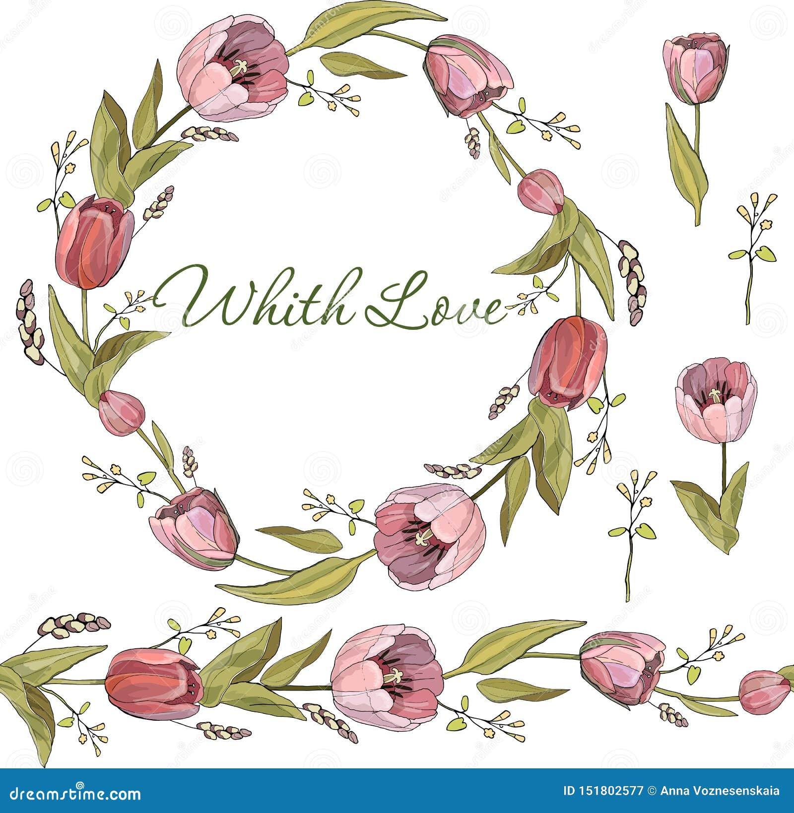 Escova e grinalda sem emenda de flores da tulipa no vetor no fundo branco