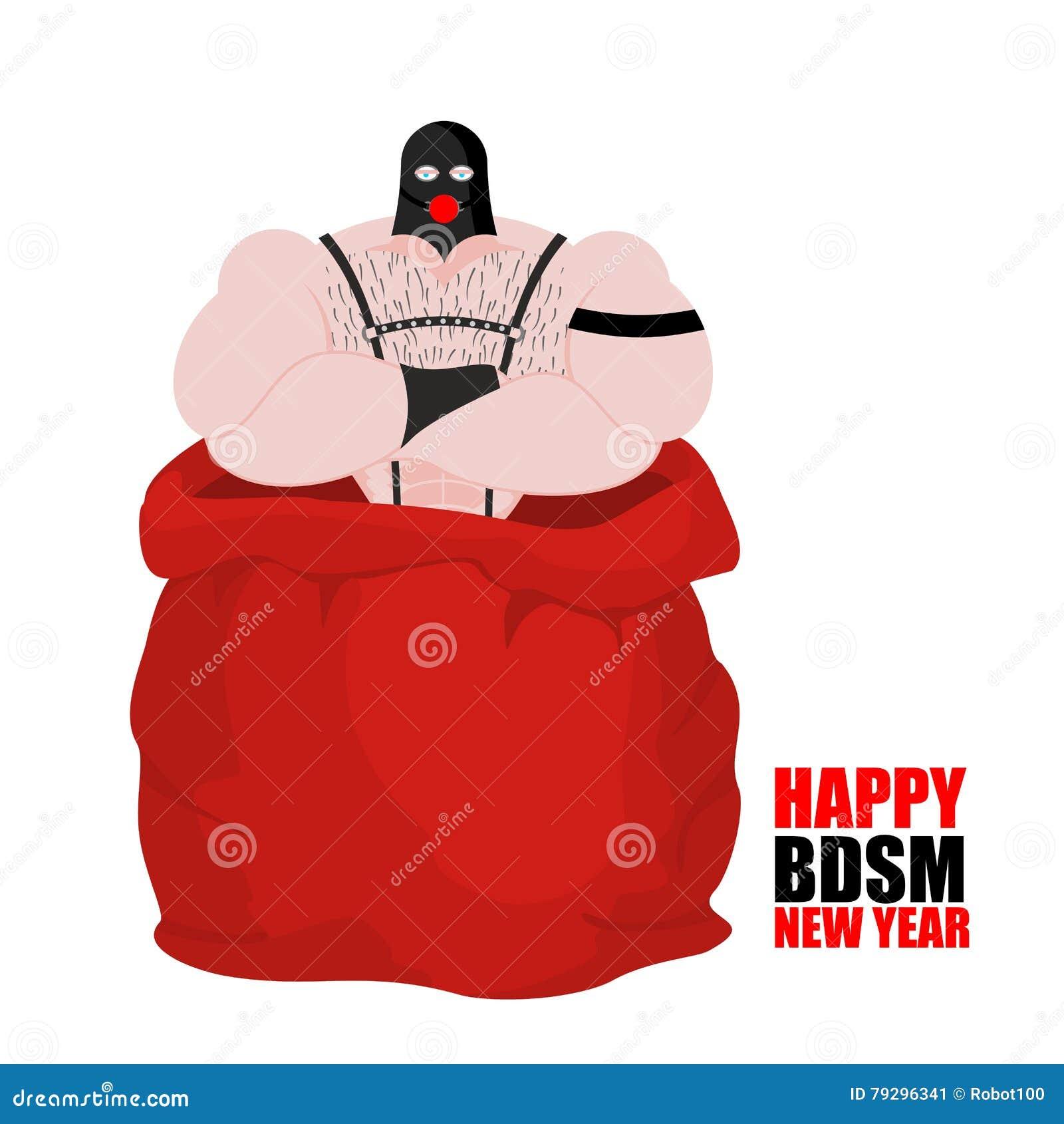 Escravo do sexo no saco vermelho de Santa Claus Ano novo feliz de BDSM  adulto