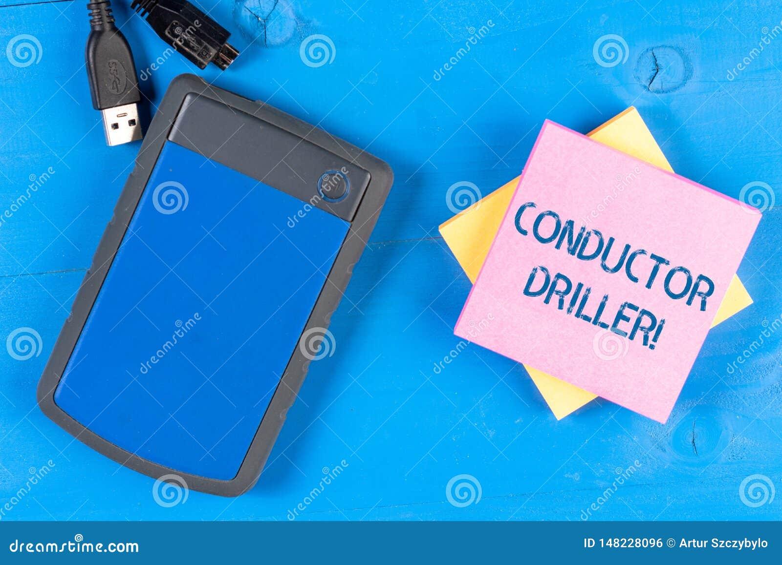Escrevendo o maestro Driller da exibição da nota Meios apresentando da foto do negócio de transportar o líquido de furo upflowing