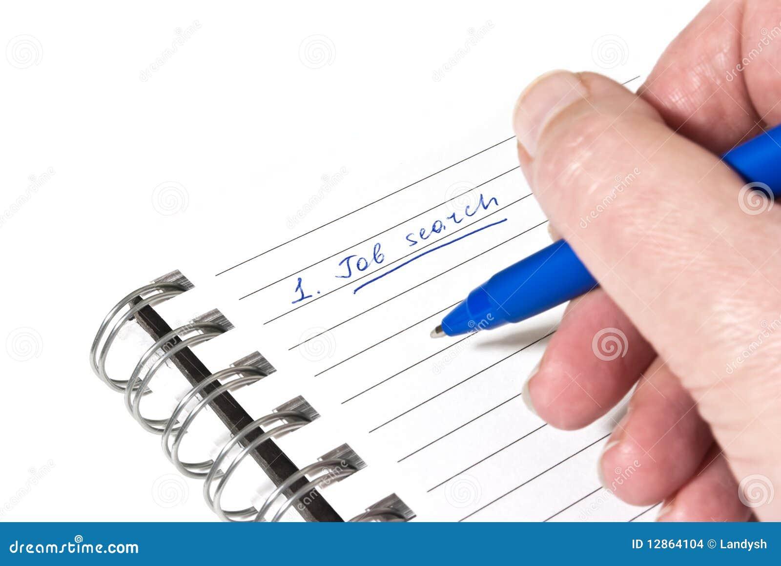 Escrevendo para baixo uma planta da busca de trabalho