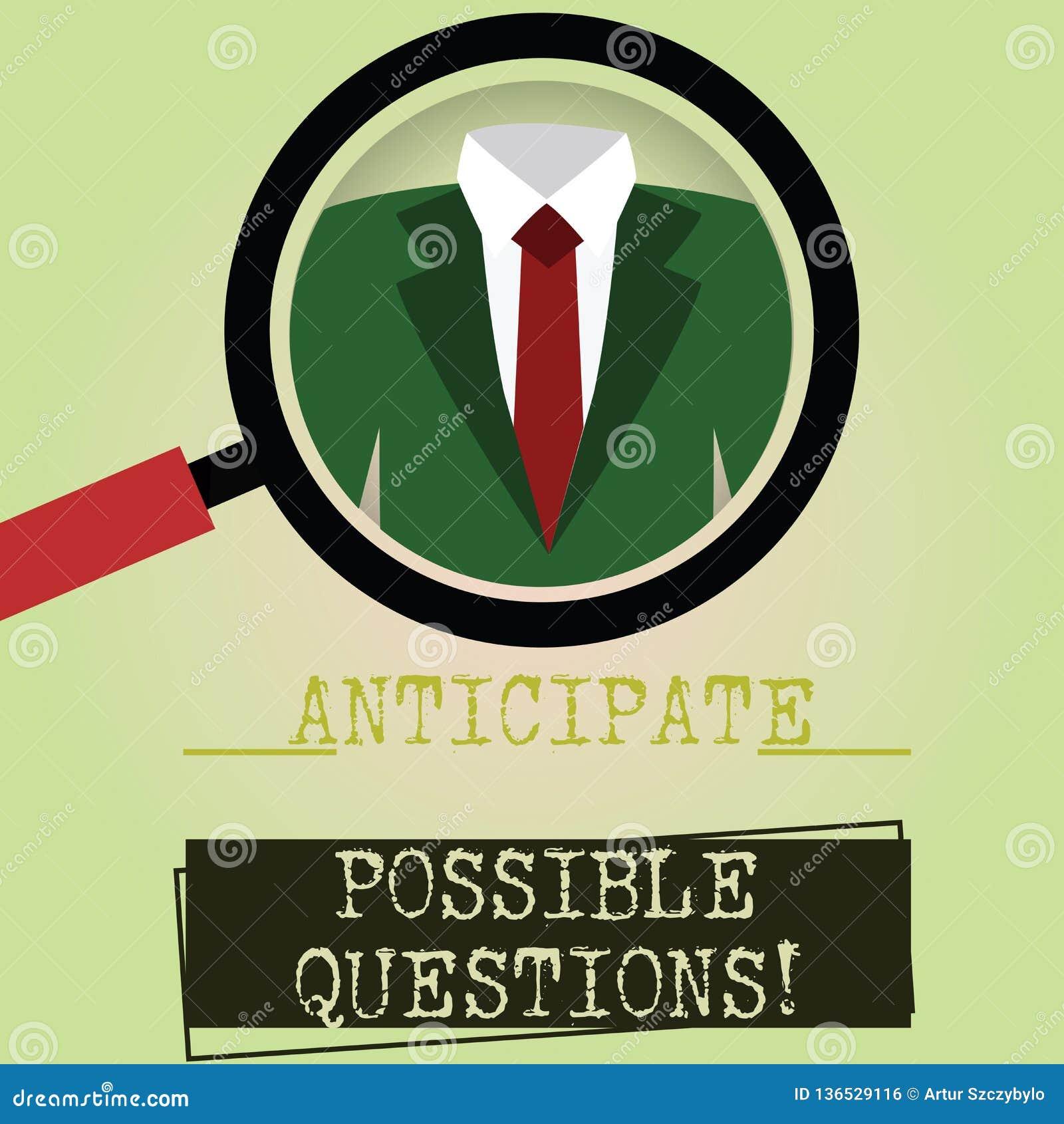 Escribiendo la demostración de la nota anticipe las preguntas posibles La exhibición de la foto del negocio espera o mira adelant