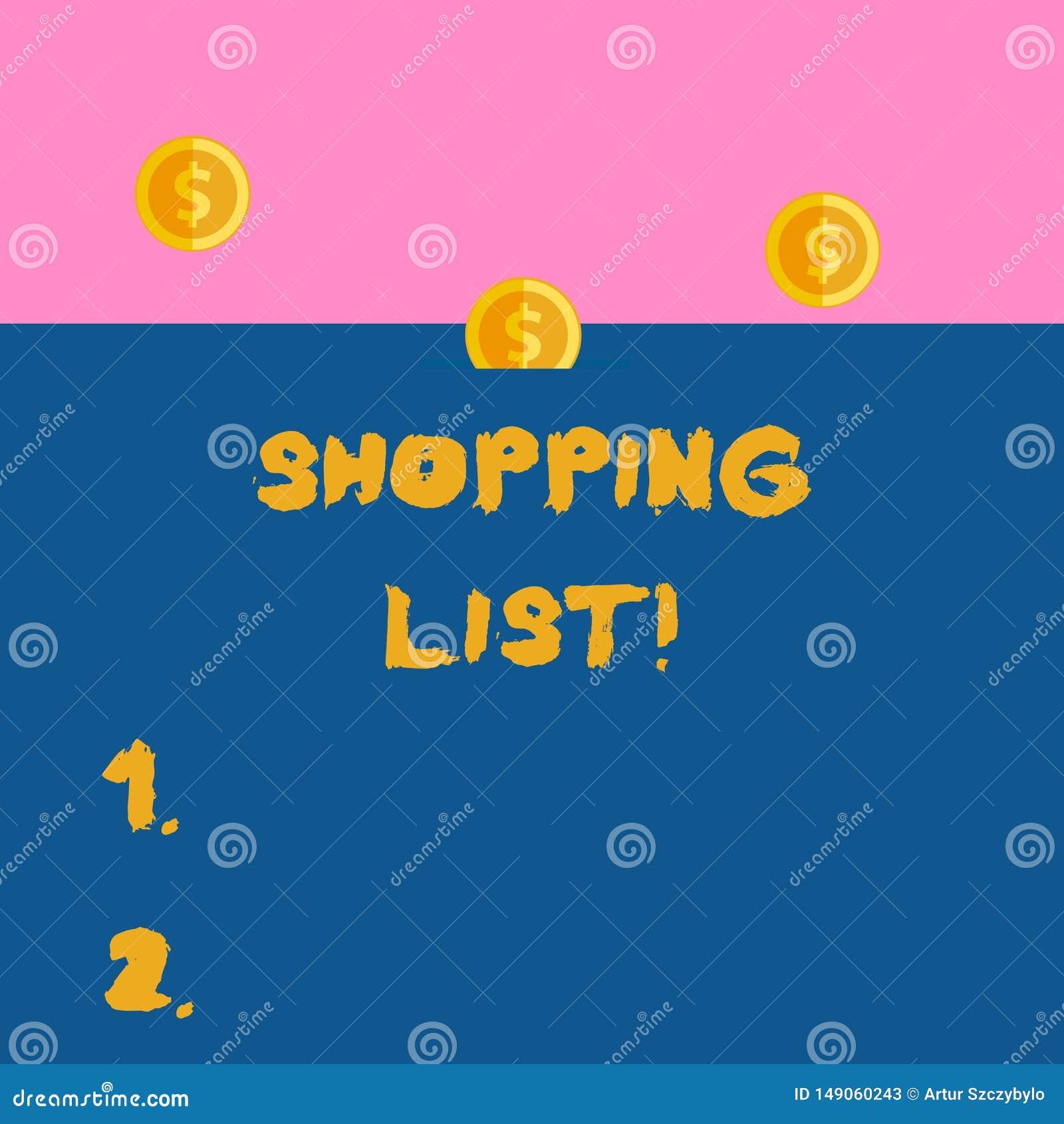 Escribiendo la foto del negocio de la lista de compras de la demostraci?n de la nota que muestra una lista de art?culos que se co