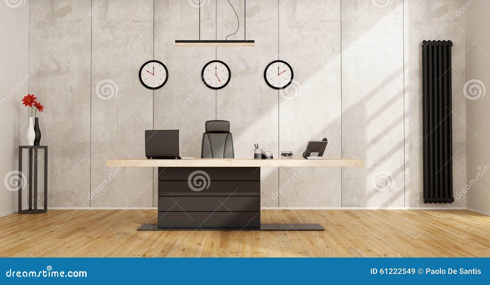 Escrit rio minimalista com mesa moderna ilustra o stock - Mesa escritorio moderna ...