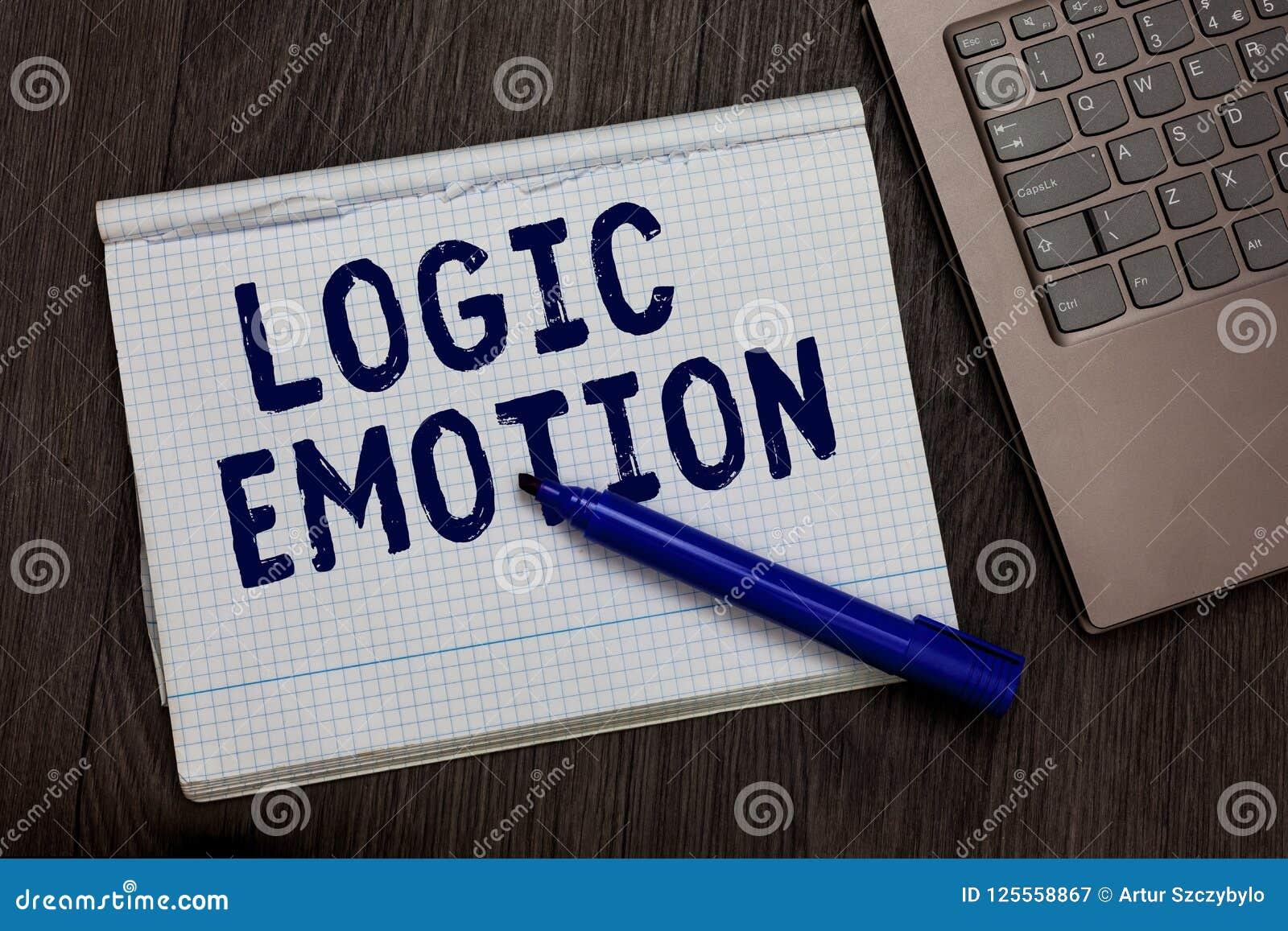Escrita conceptual da mão que mostra a emoção da lógica Sentimentos desagradáveis do texto da foto do negócio girados para a ment