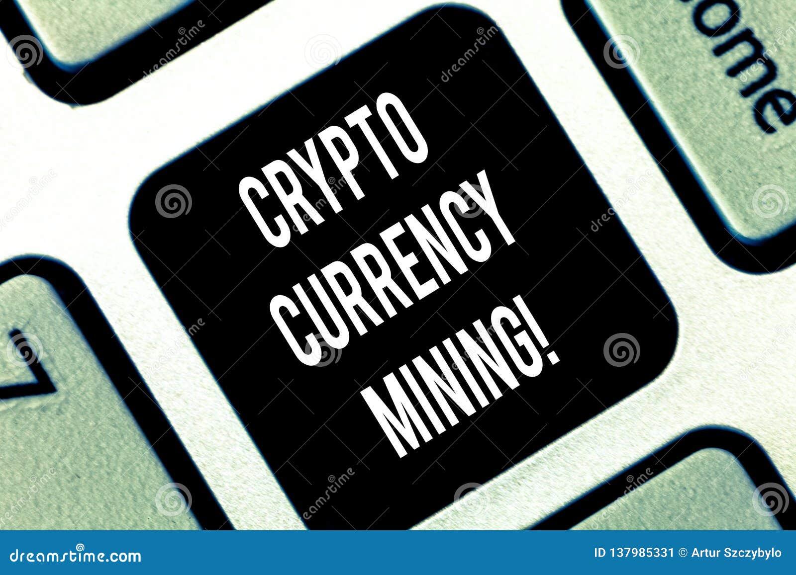 Escrita conceptual da mão que mostra a mineração cripto da moeda Registro apresentando da transação de gravação da foto do negóci