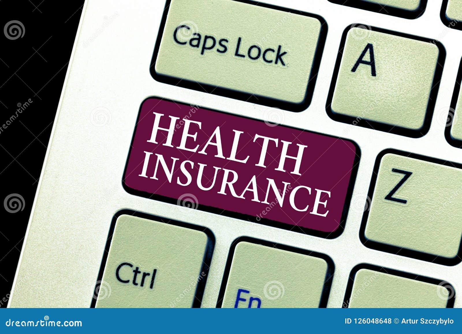 Escrita conceptual da mão que mostra o seguro de saúde Cobertura do texto da foto do negócio que paga por despesas médicas e cirú