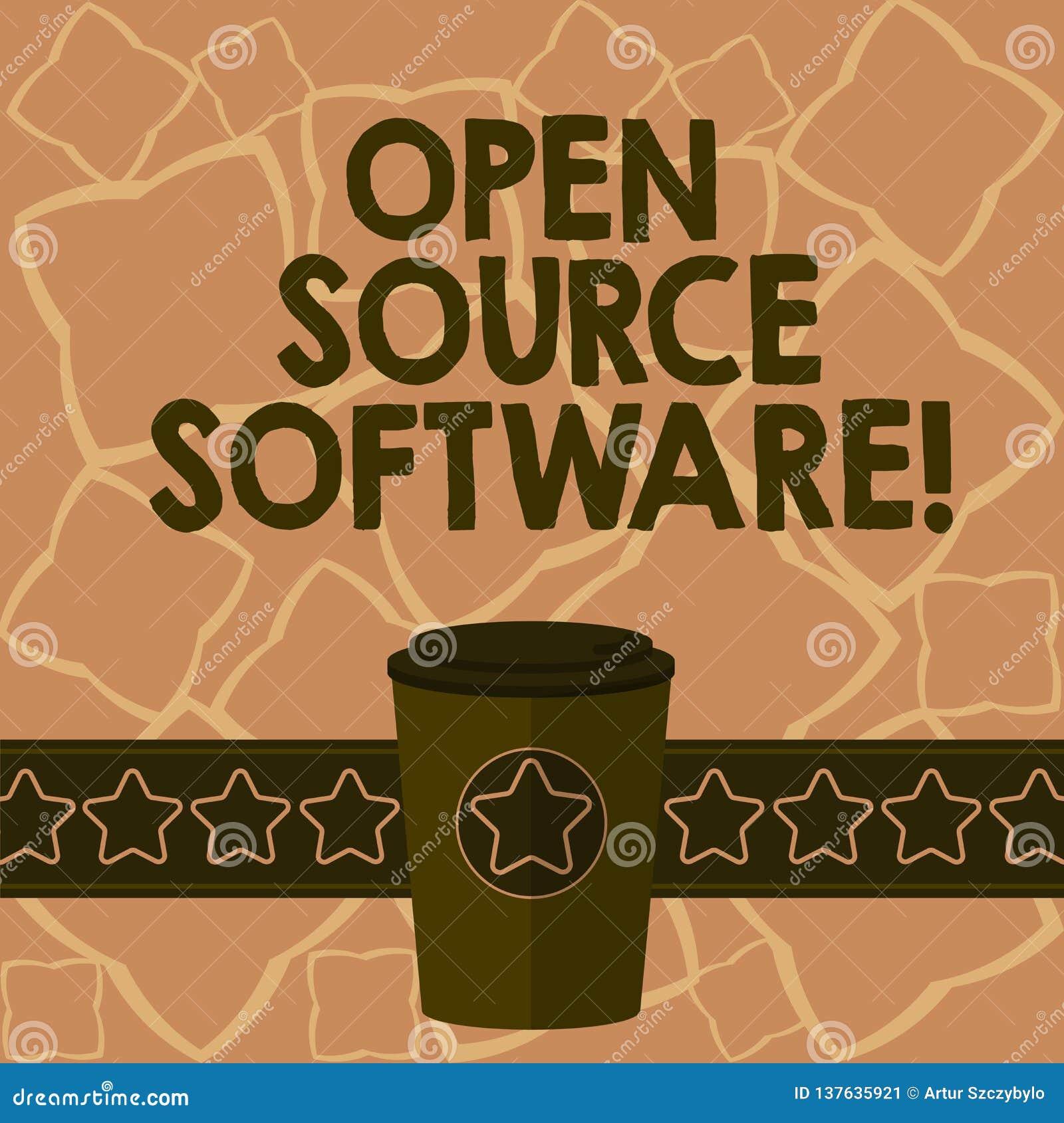 Escrita conceptual da mão que mostra o software livre Software do texto da foto do negócio com código fonte que qualquer um pode