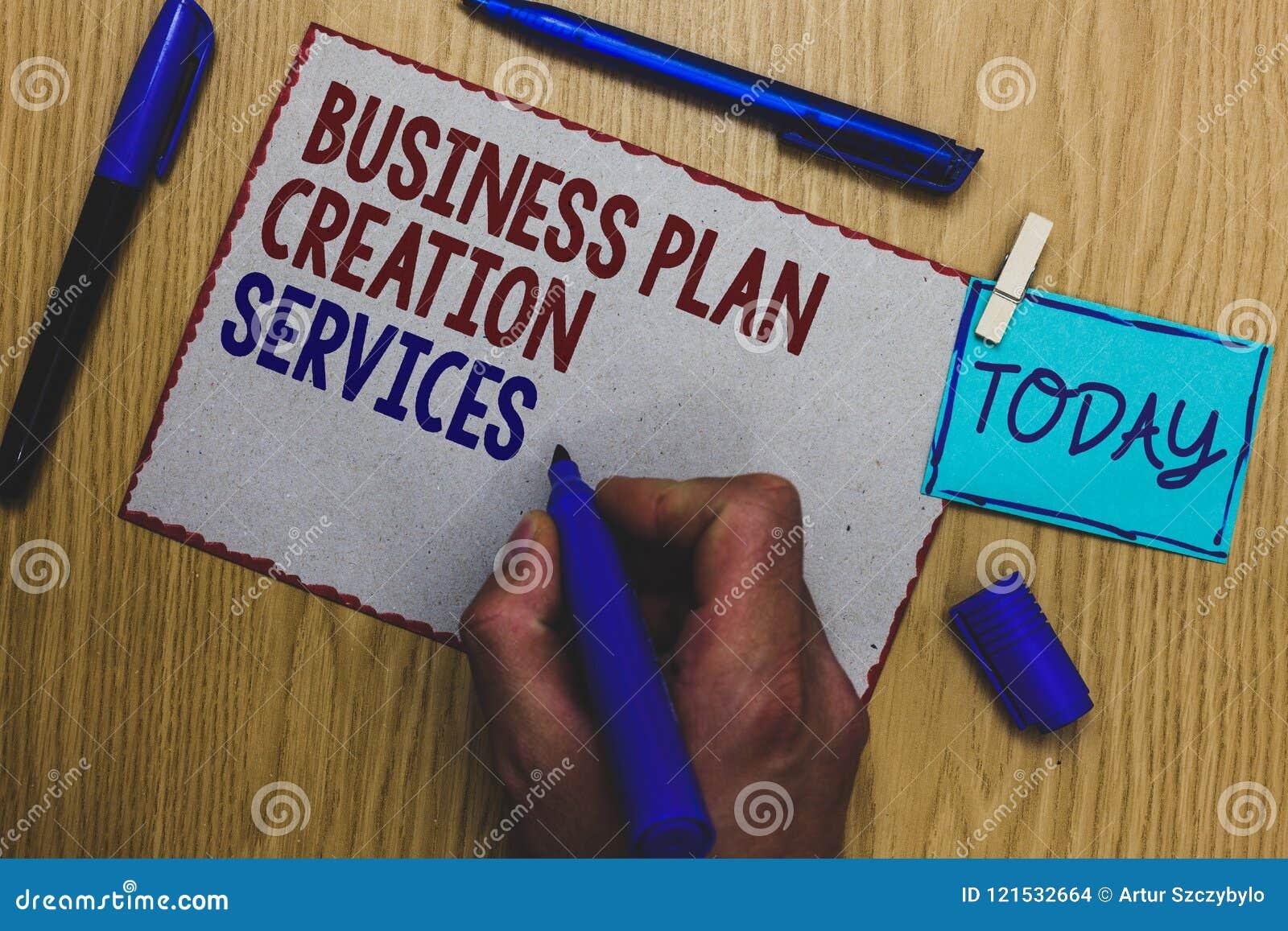 Escrita conceptual da mão que mostra serviços da criação do plano de negócios Texto da foto do negócio que paga pelo profissional