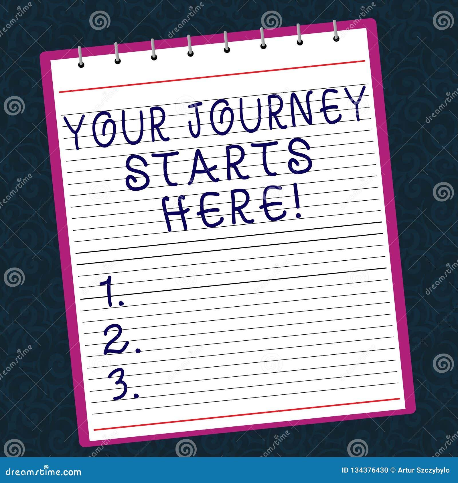 Escrita conceptual da mão que mostra seus começos da viagem aqui Motivação do texto da foto do negócio para começar um negócio