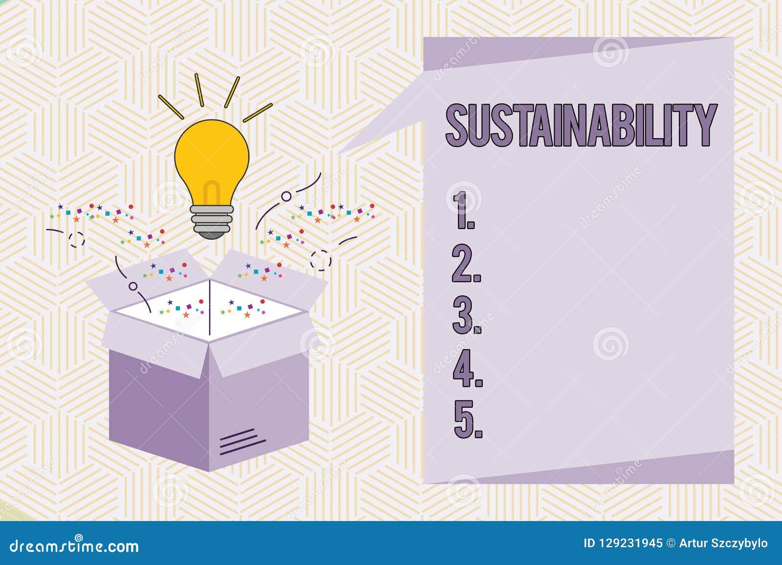 Escrita conceptual da mão que mostra a sustentabilidade Texto da foto do negócio a capacidade para ser mantido em uma determinada