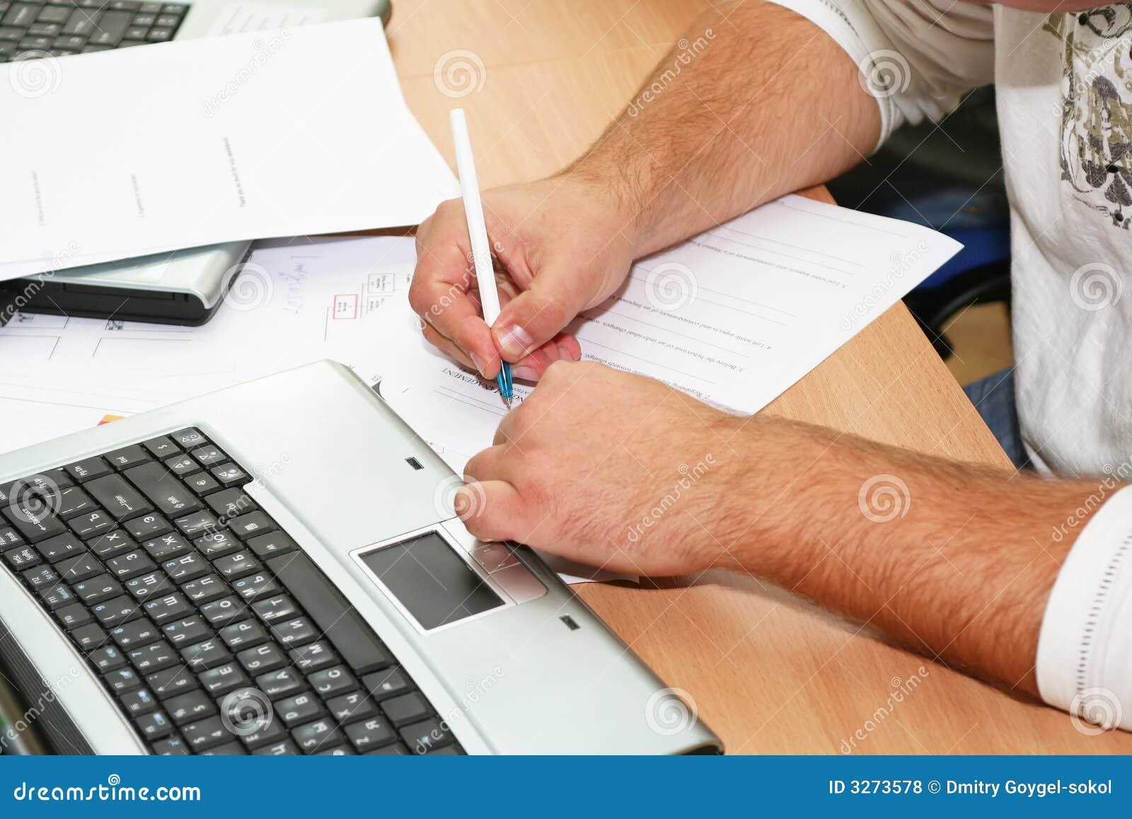 Escrita da mão