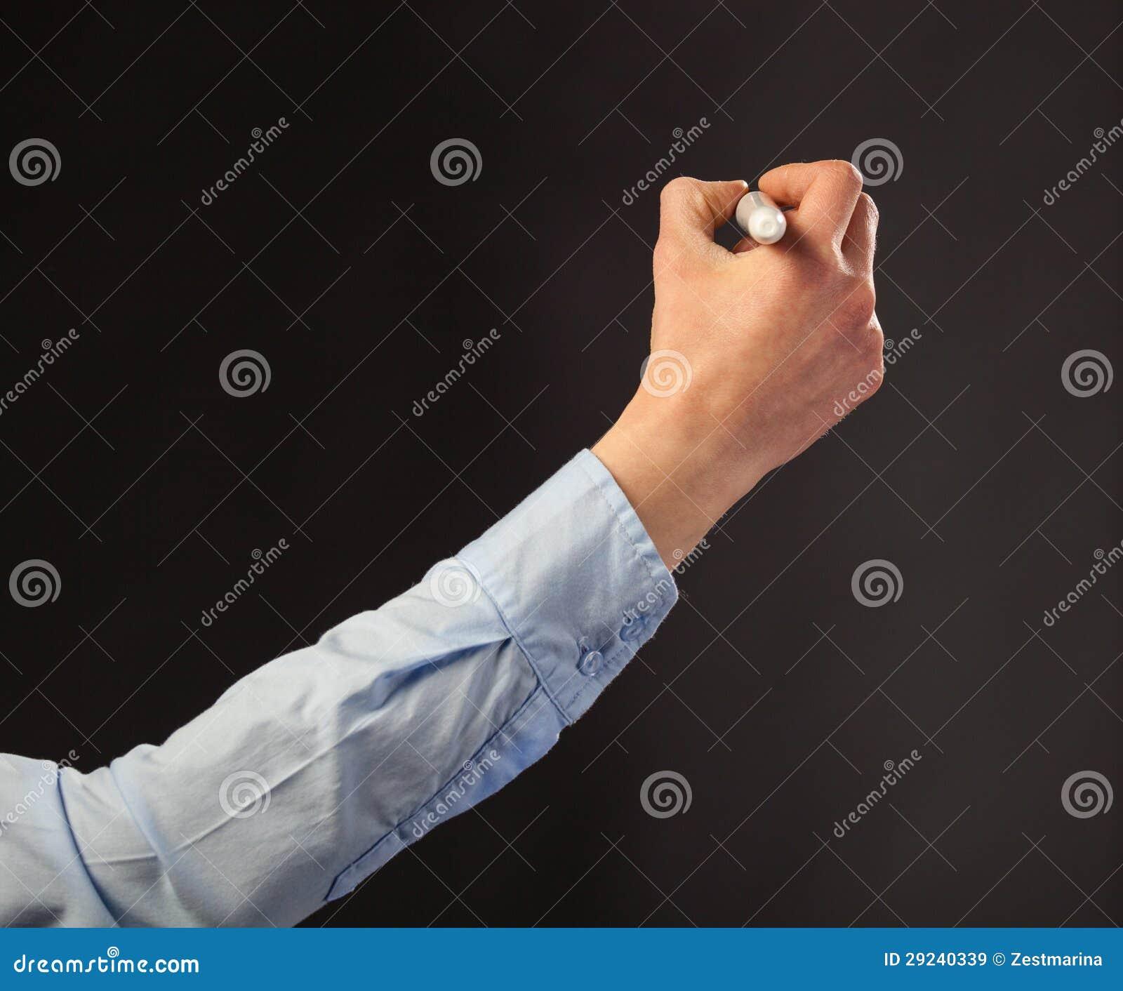 Download Escrita Da Mão Com Marcador Imagem de Stock - Imagem de branco, humano: 29240339