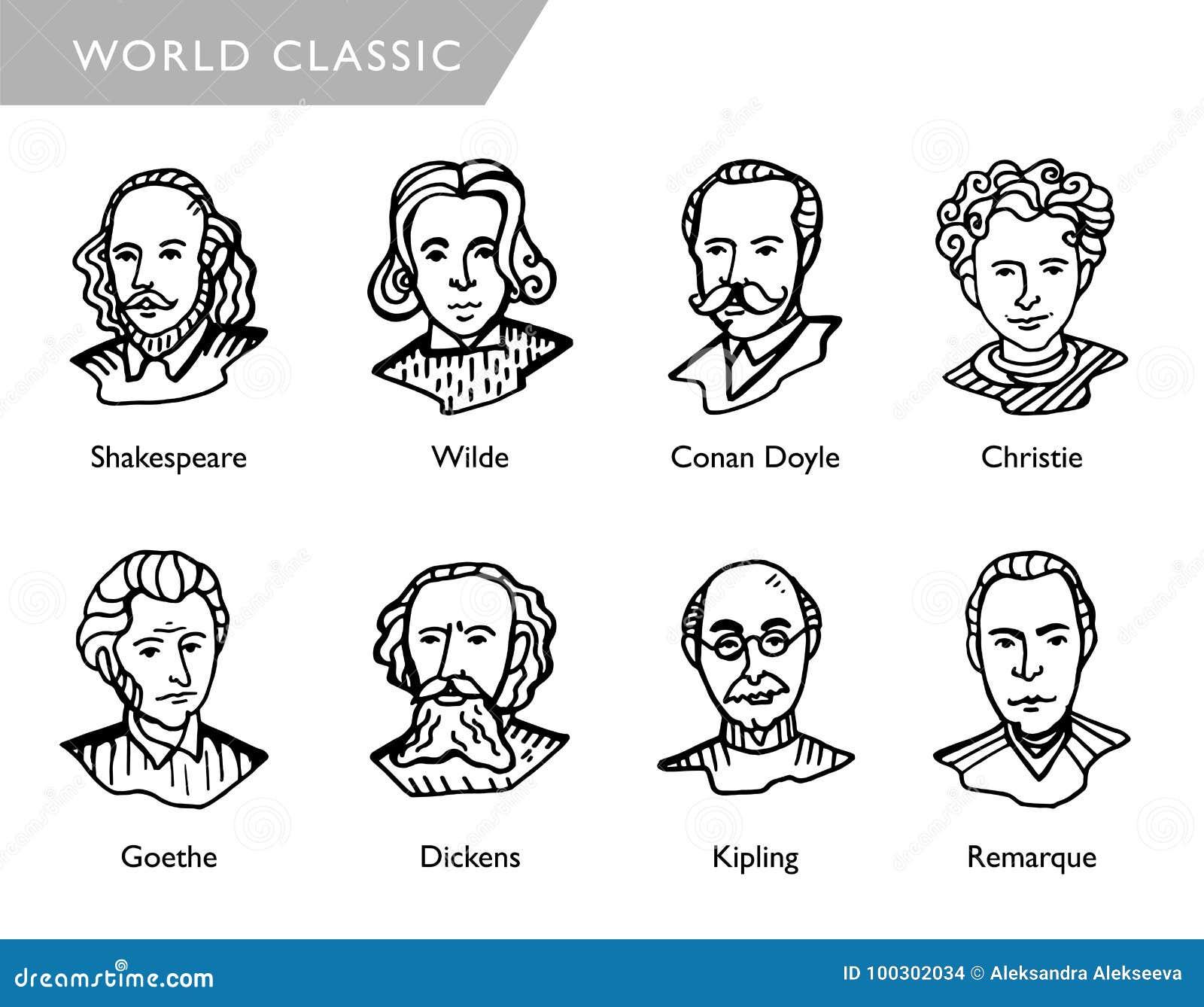 Escritores famosos del mundo, retratos del vector, Shakespeare, Wilde, Conan Doyle, Christie, Goethe, Dickens, Kipling, Remarque