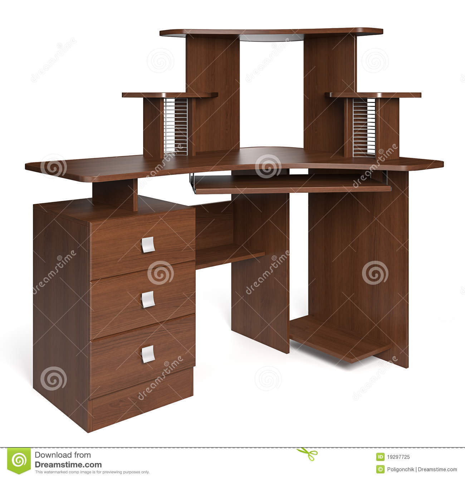 Escritorio de madera aislado foto de archivo libre de - Escritorios rusticos de madera ...