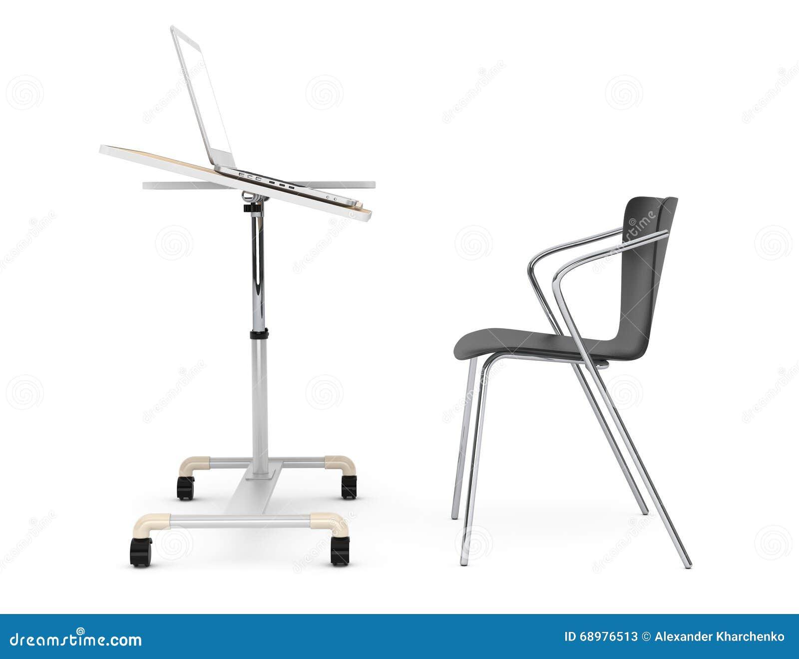 Escritorio de madera del ordenador portátil de la escuela, del hogar y de la oficina con la silla