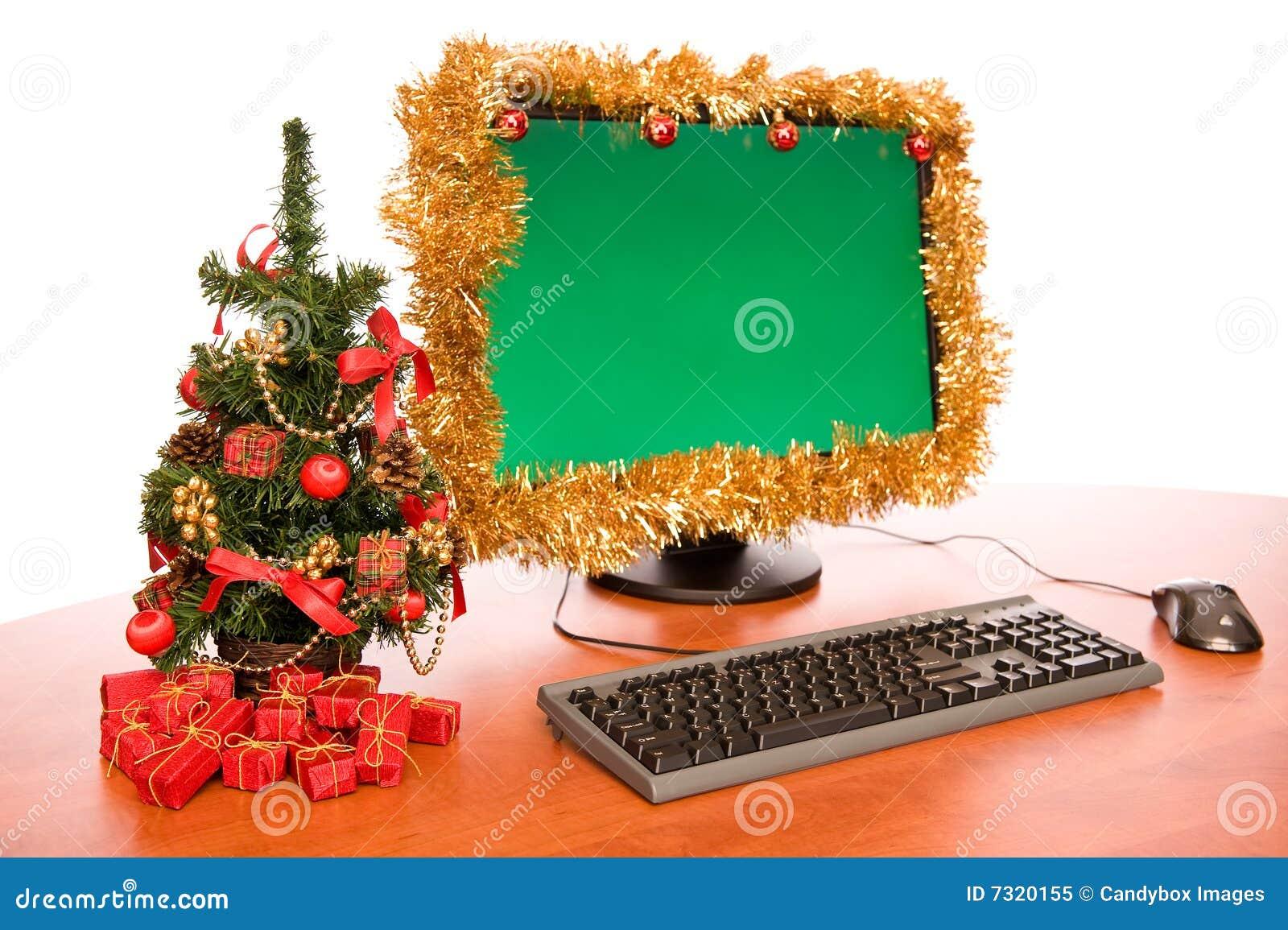 Escritorio de oficina con la decoraci n hermosa de la for Decoracion de navidad para oficina