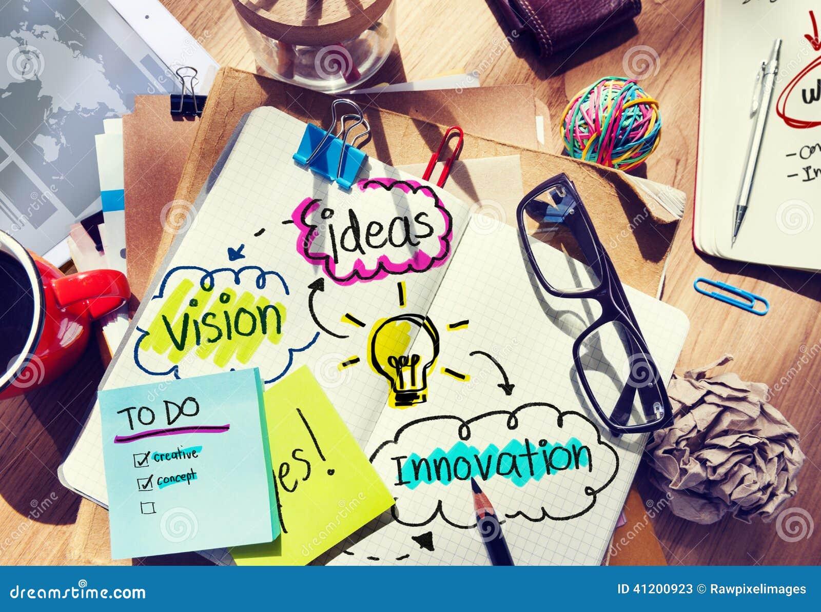 Escritorio de oficina sucio con ideas y Vision
