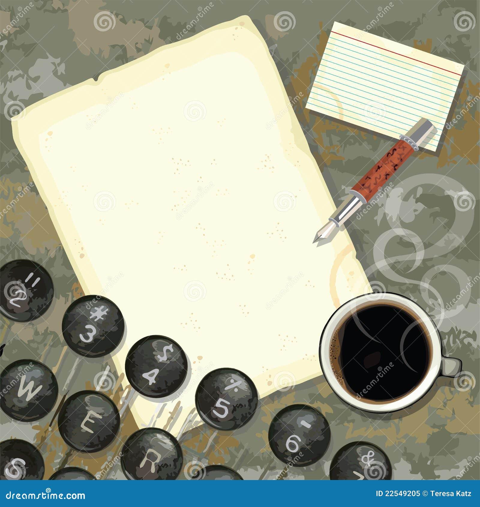 Escritorio del programa de escritura con la m quina de - Escritorio para escribir ...