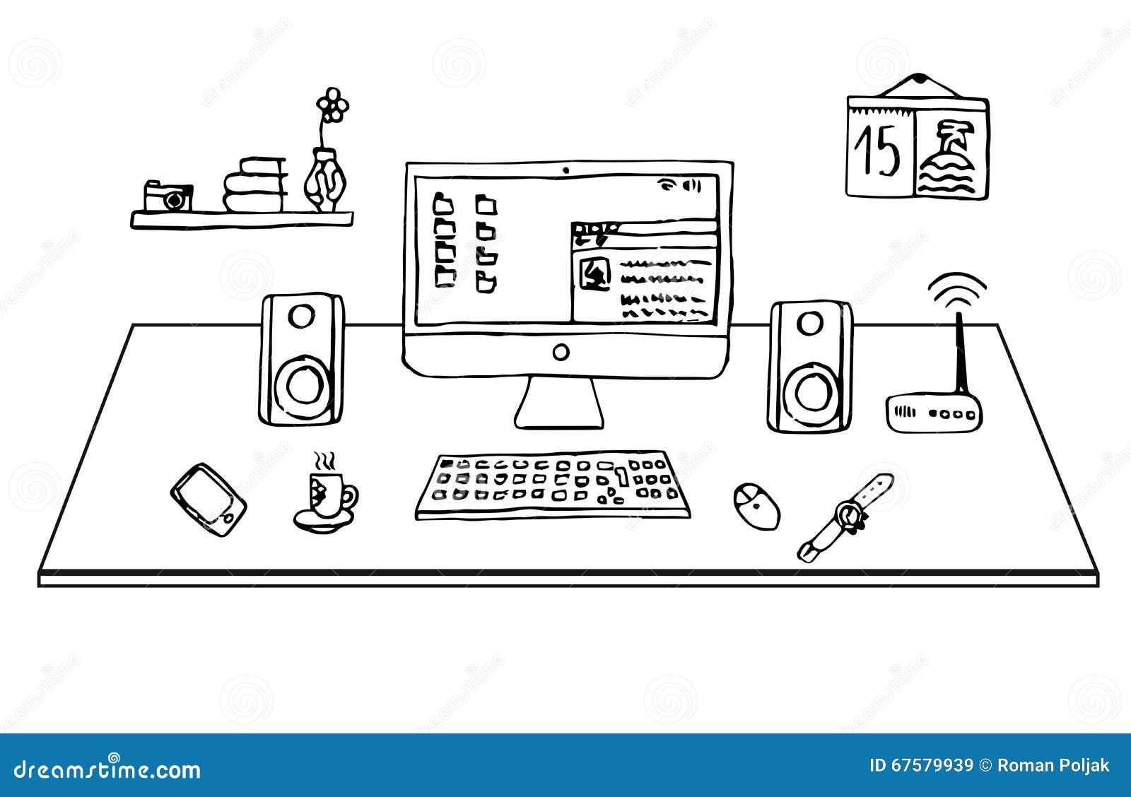 Escritorio plano de la oficina conceptora dibujo a pulso for Planos de escritorios de oficina
