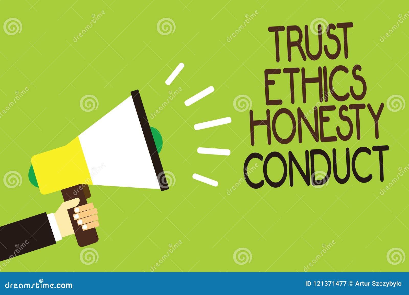Escritura conceptual de la mano que muestra conducta de la honradez de los éticas de la confianza La exhibición de la foto del ne