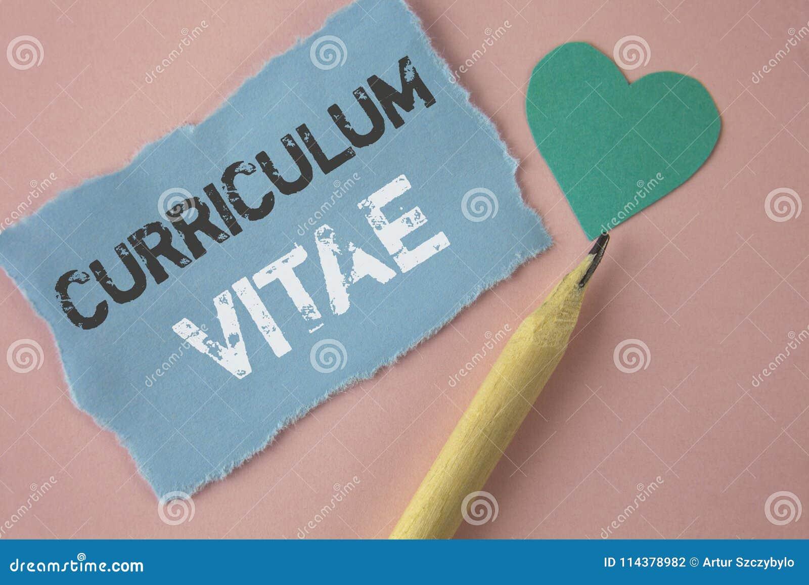 Escritura Conceptual De La Mano Que Muestra Curriculum Vitae Recluta ...