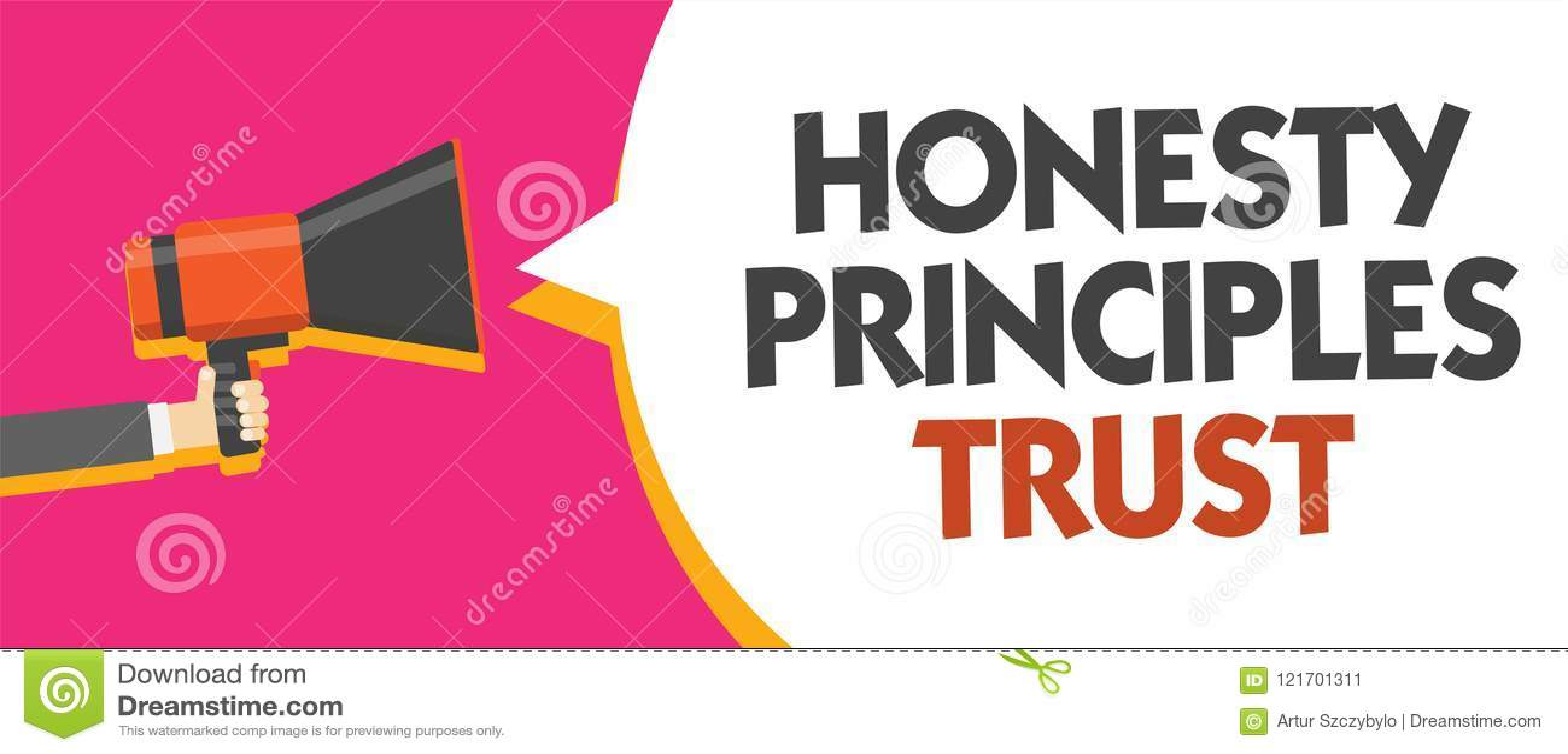 Escritura conceptual de la mano que muestra la foto del negocio de confianza de los principios de la honradez que muestra creyend