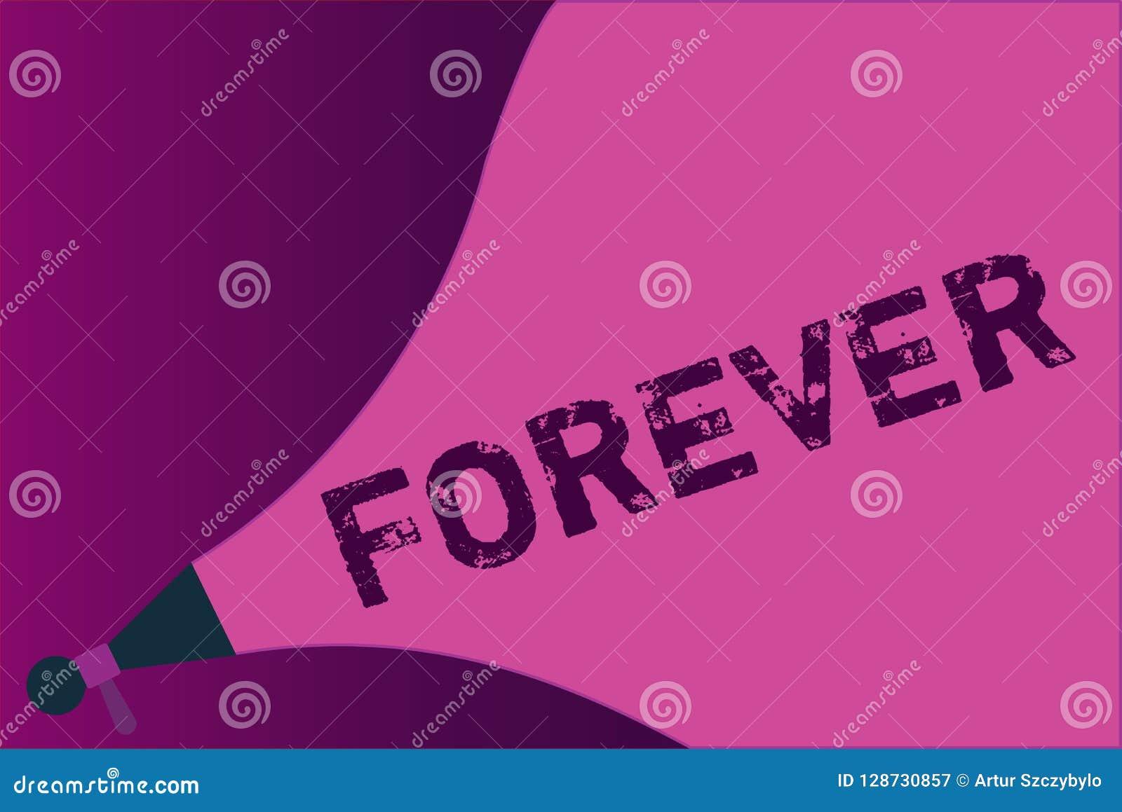 Escritura conceptual de la mano que muestra para siempre Foto del negocio que muestra Peranalysisent eterno siempre por el tiempo