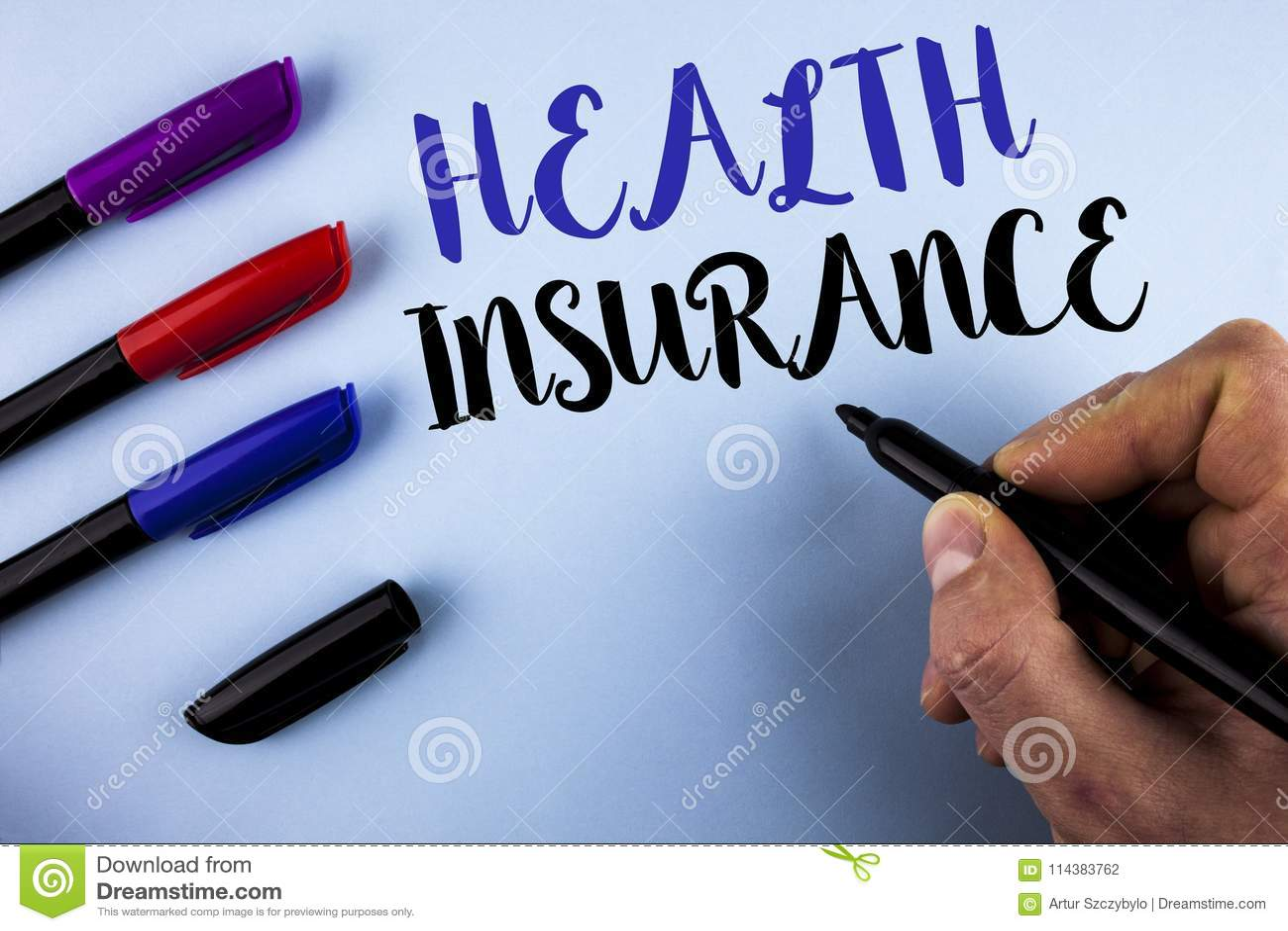 Escritura conceptual de la mano que muestra seguro médico Wr del proveedor de asistencia sanitaria de la cobertura de la informac