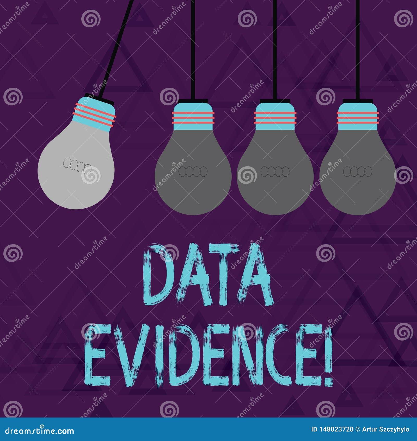 Escritura de la nota que muestra pruebas de los datos La exhibición de la foto del negocio relevante y suministra la prueba que a