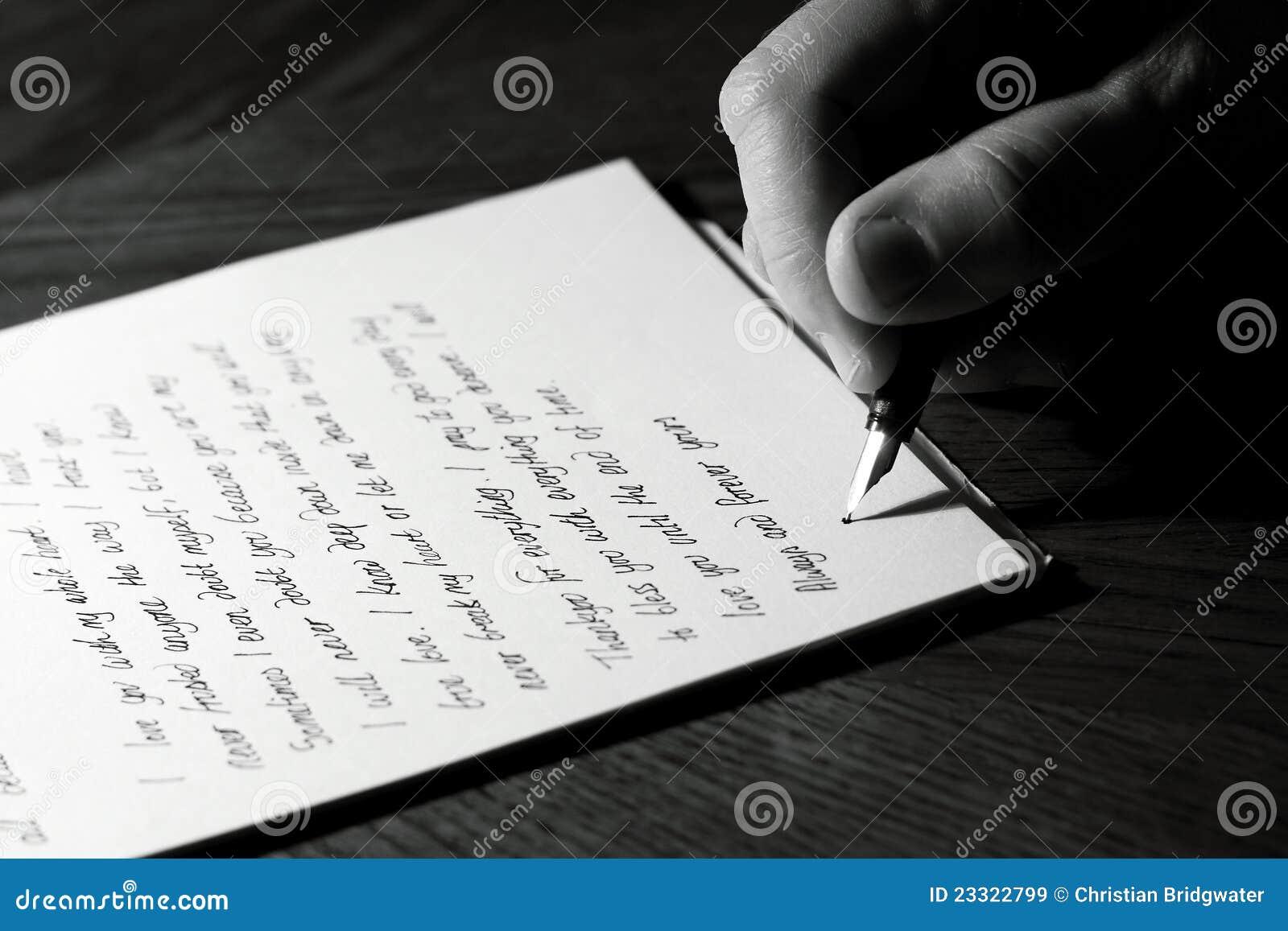 Escritura de una letra de amor