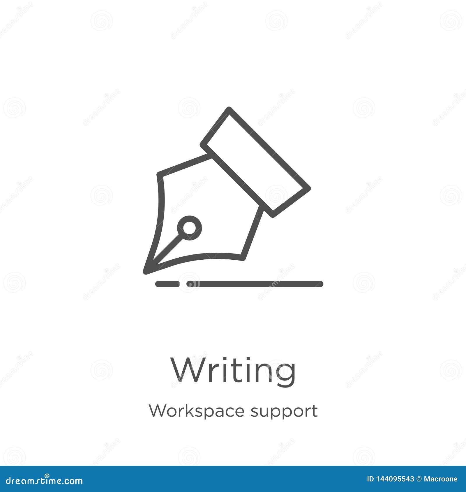 Escritura de vector del icono de la colección de la ayuda del espacio de trabajo Línea fina ejemplo del vector del icono del esqu