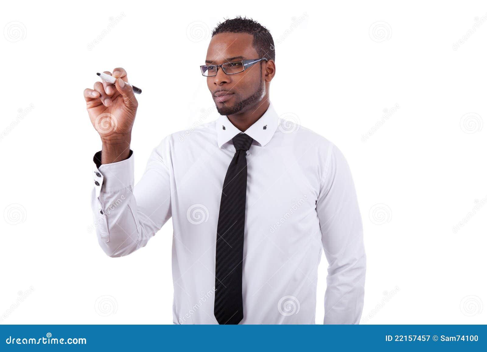 Escritura del hombre de negocios del afroamericano
