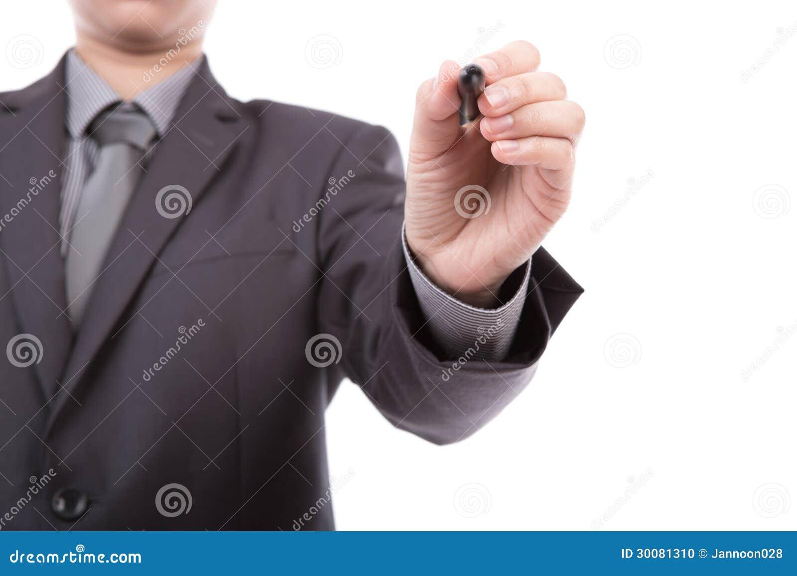 Escritura del hombre de negocios en espacio de la copia