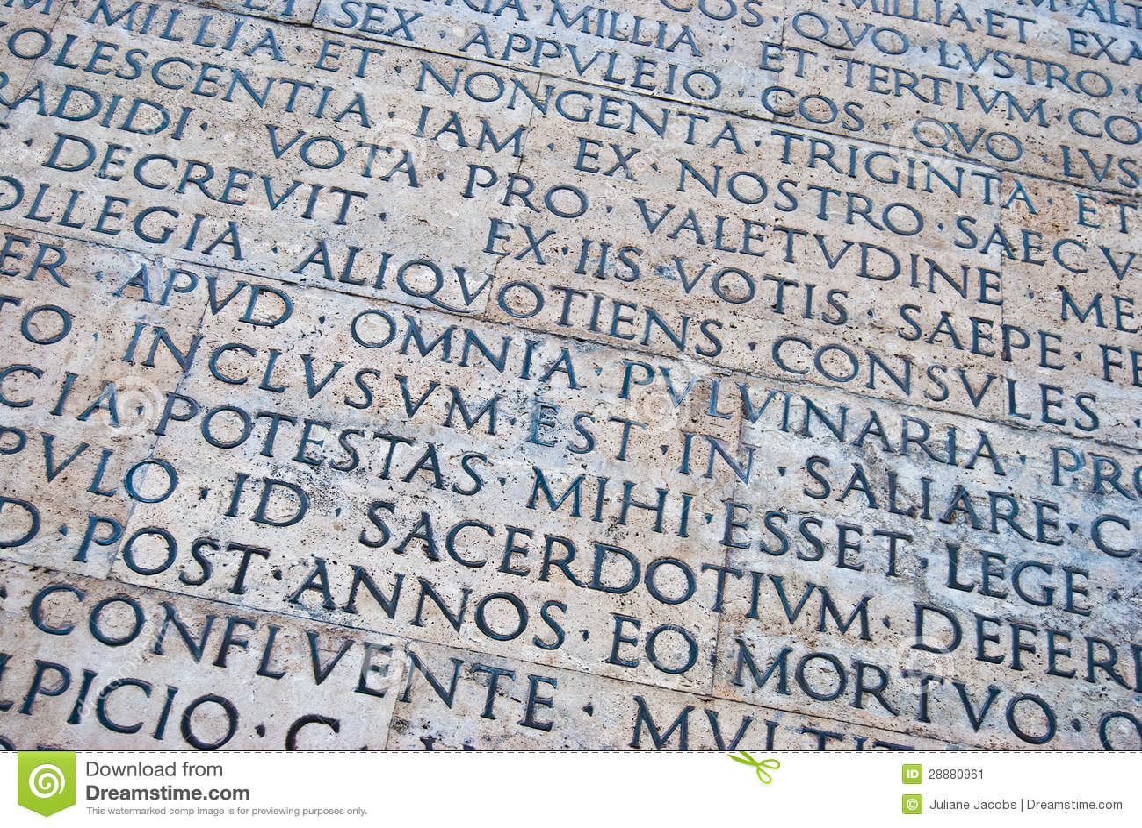 Escritura Romana Imagen de archivo - Imagen: 28880961