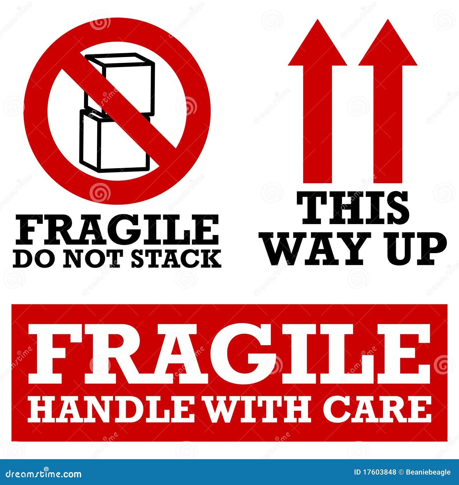 Escrituras de la etiqueta de envío frágiles