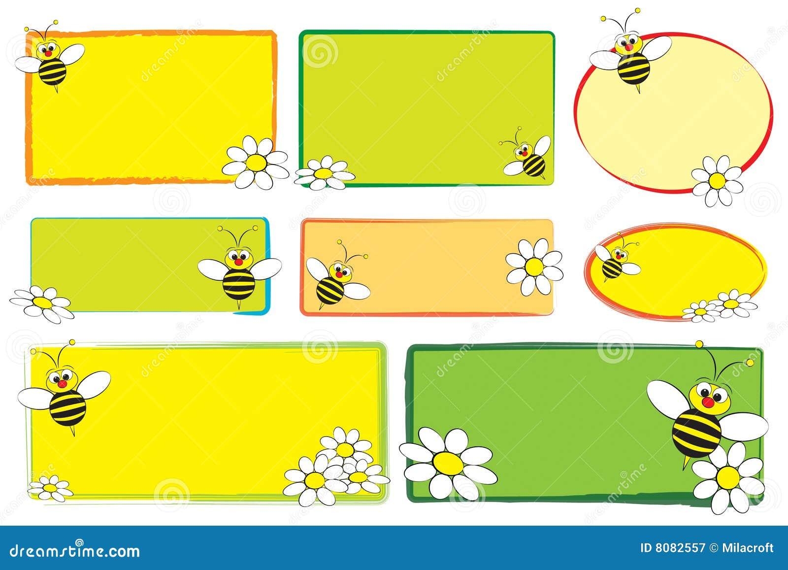 Escrituras de la etiqueta del cabrito - abeja y margaritas