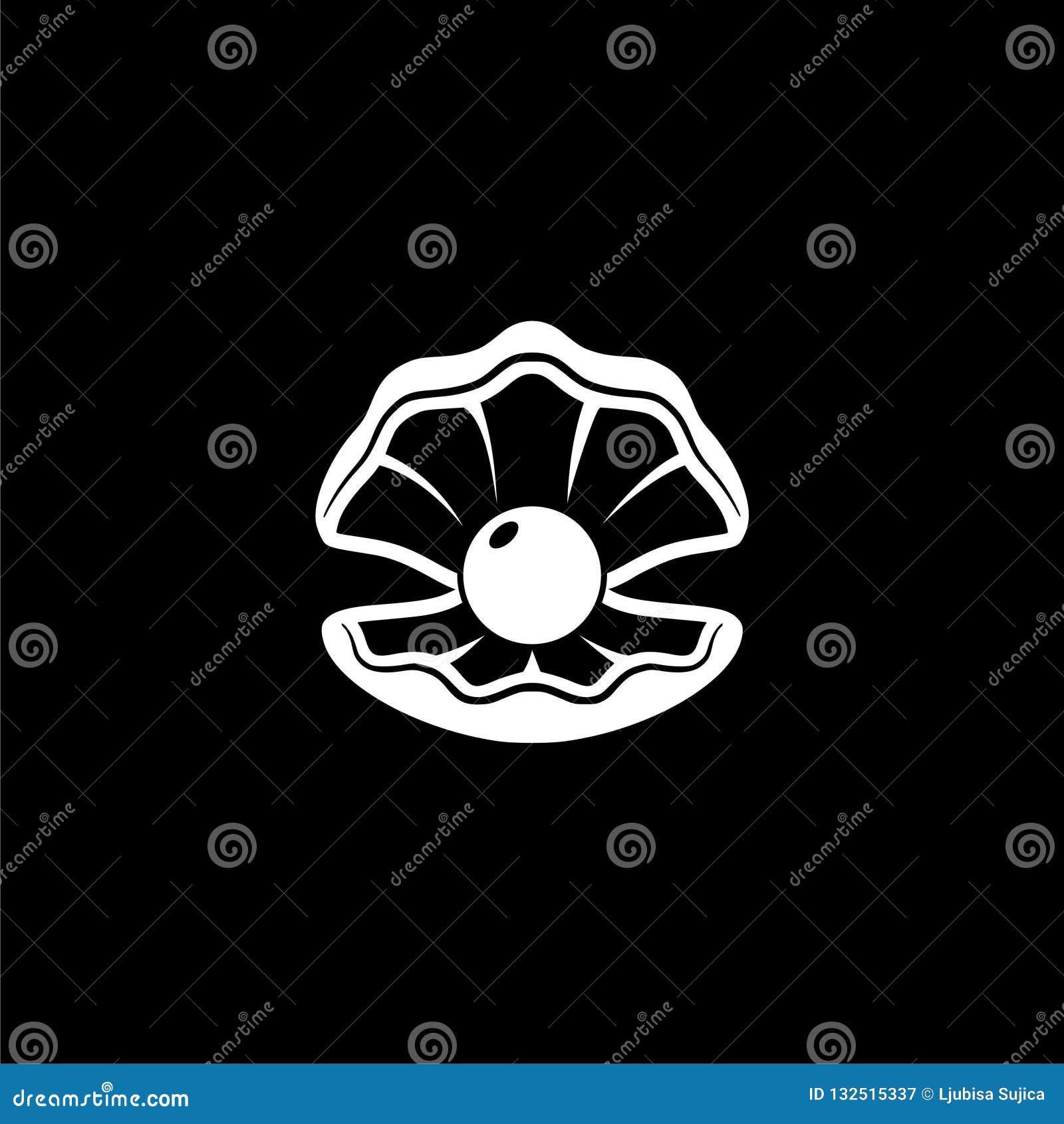 Escudo aberto com um ícone da pérola ou logotipo no fundo escuro