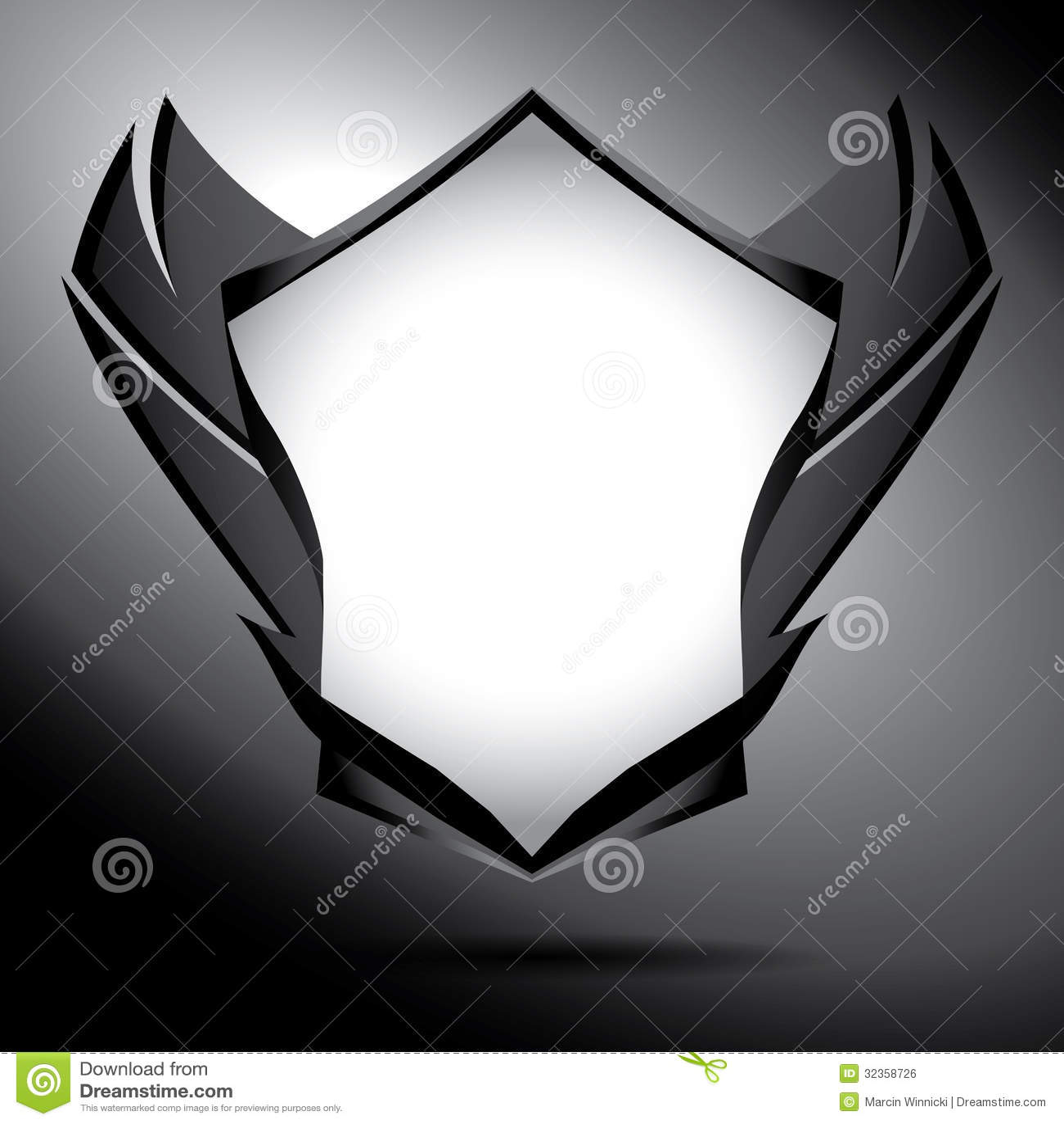 Escudo Blanco Y Negro Con Las Alas Ilustración del Vector ...