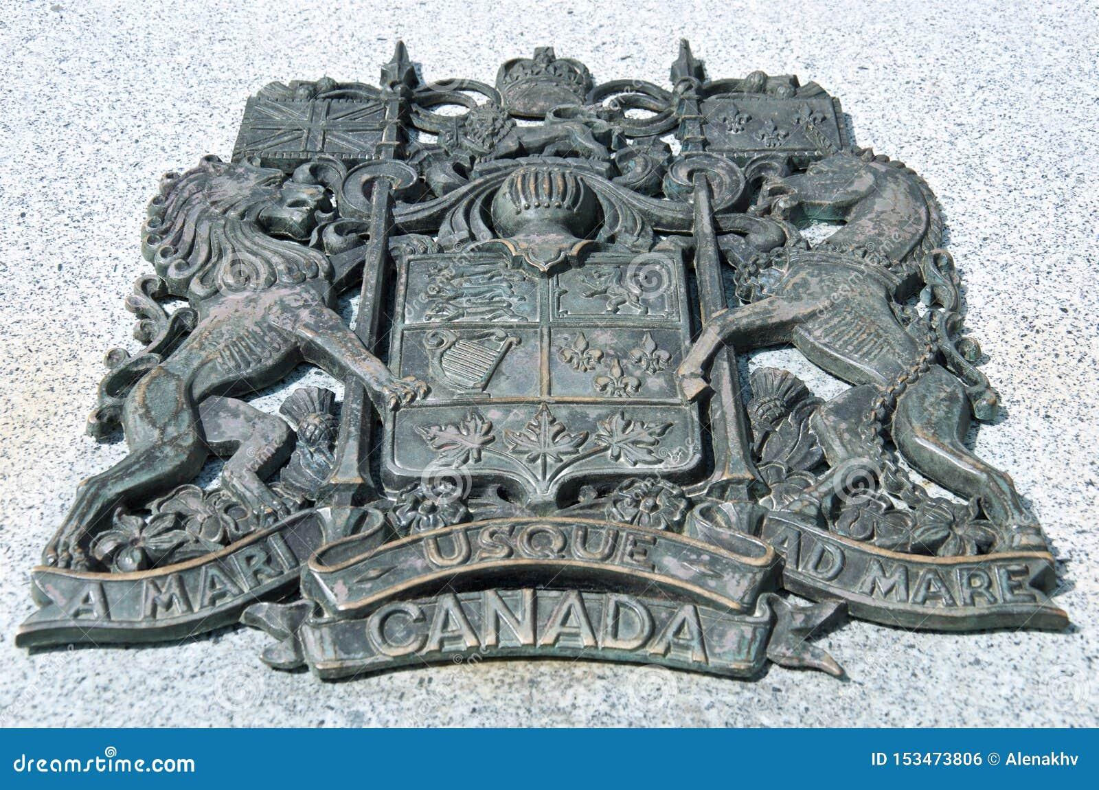 Escudo de armas canadiense del metal negro grande