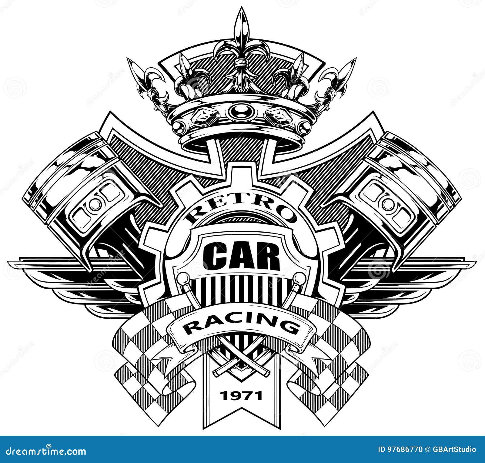 Escudo de armas gráfico con los pistones y las banderas el competir con