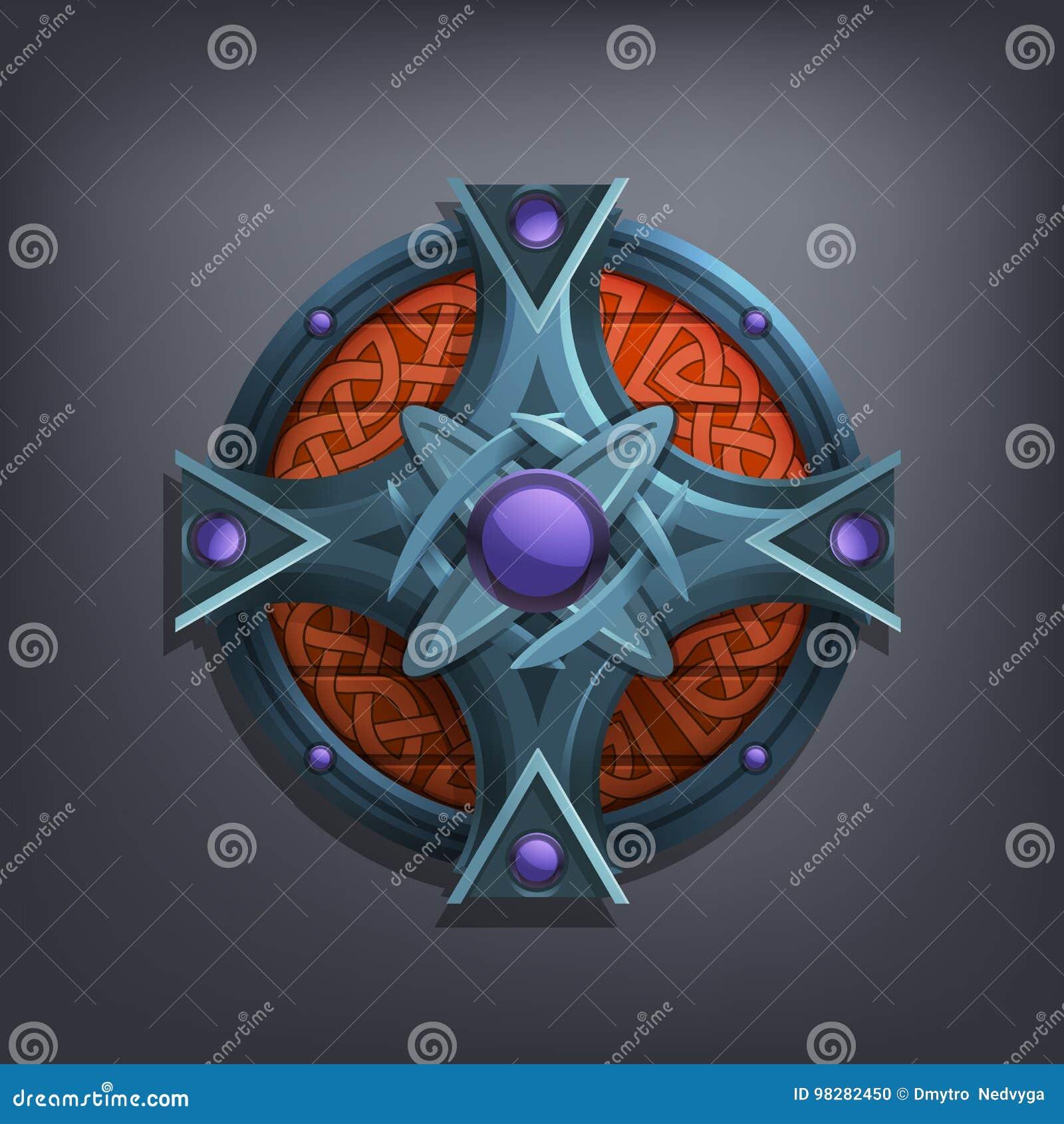 Escudo de la fantasía del hierro para el juego o las tarjetas