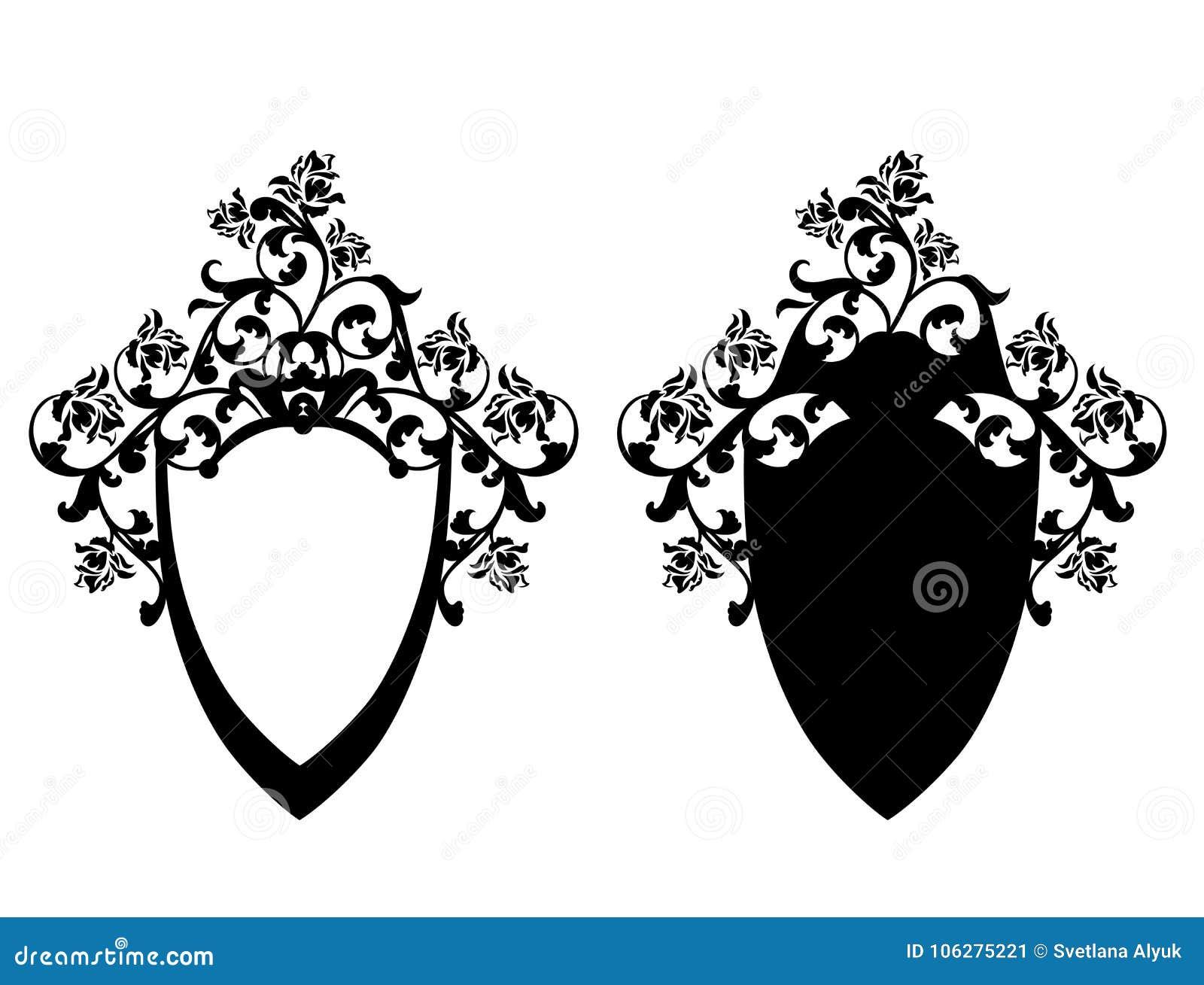 ef05eb1fe70 Escudo en blanco entre las flores color de rosa - diseño blanco y negro del  vector