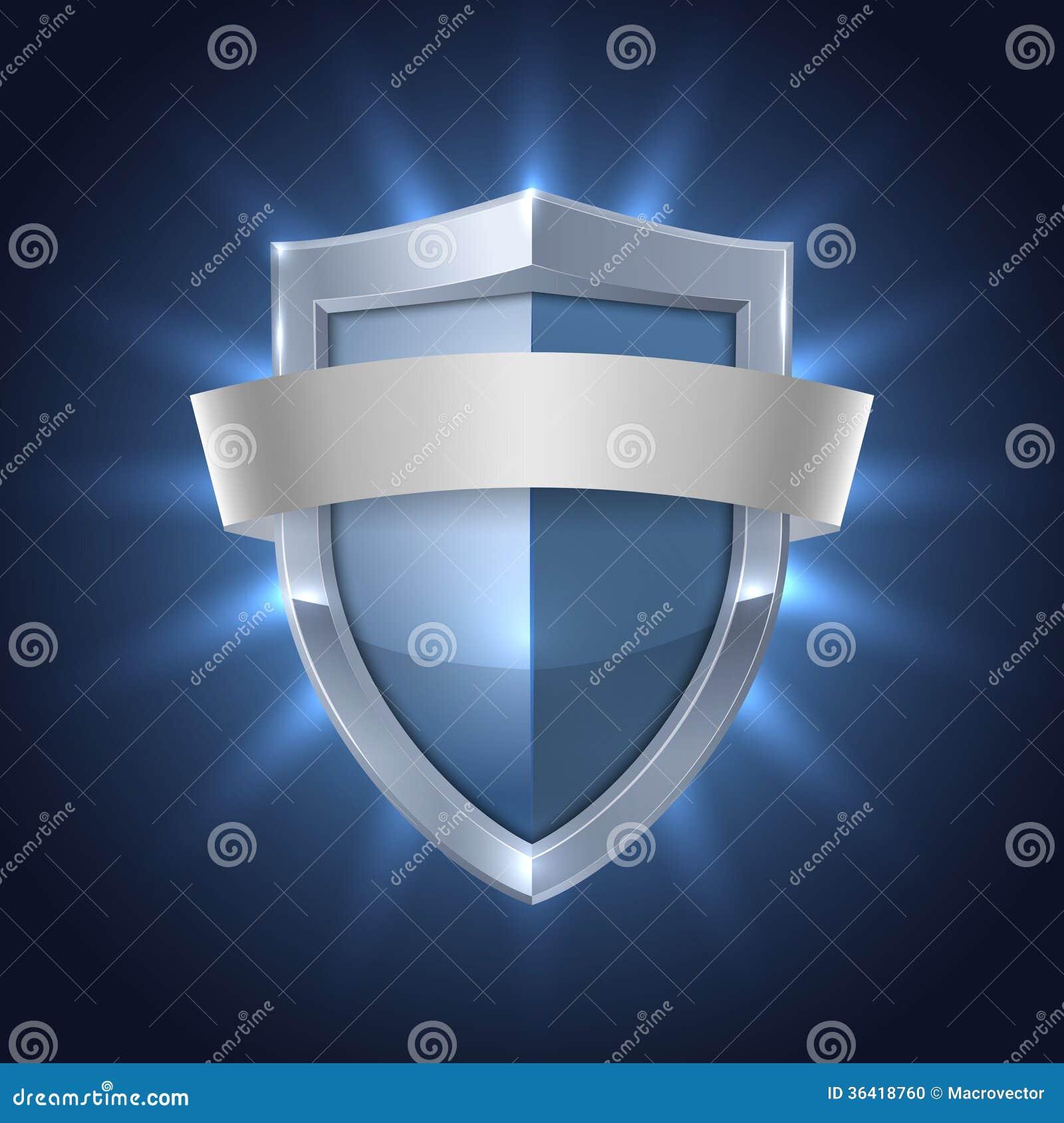 Escudo que brilla intensamente con la insignia en blanco de la seguridad de la cinta