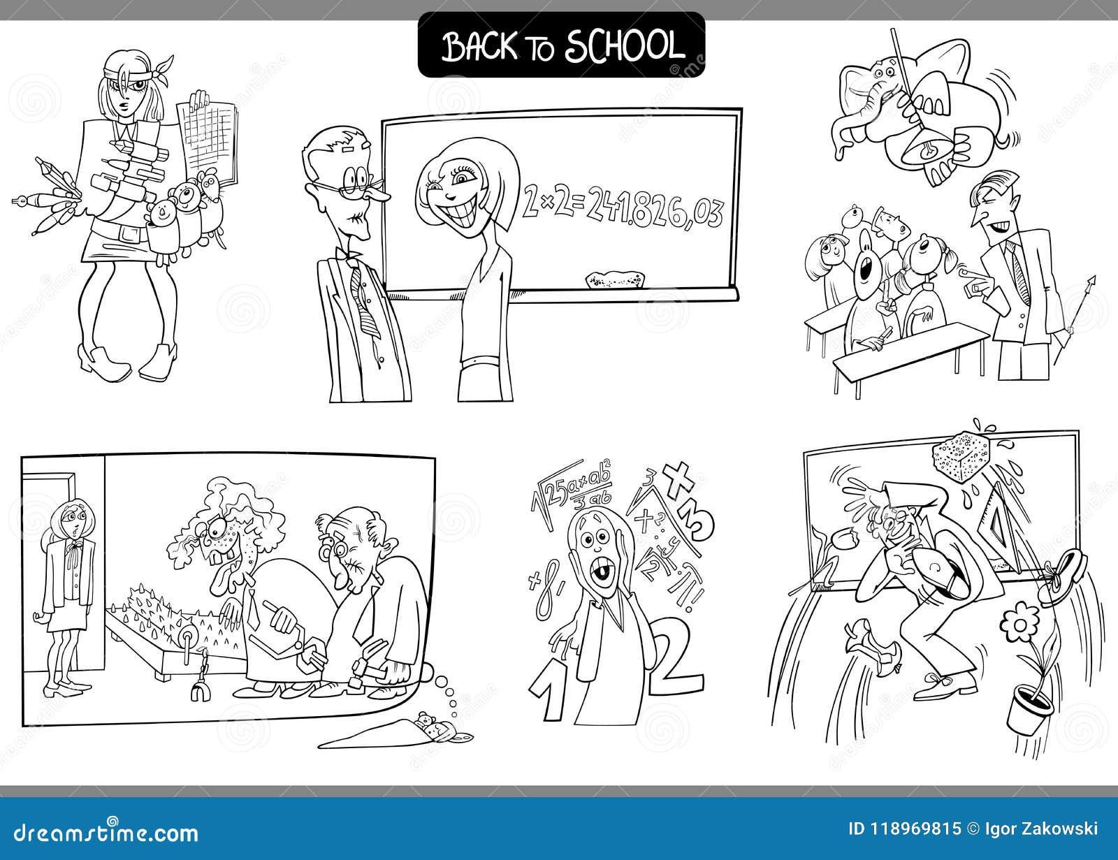 Escuela Y Cartón De La Educación Fijado Para Colorear Ilustración ...