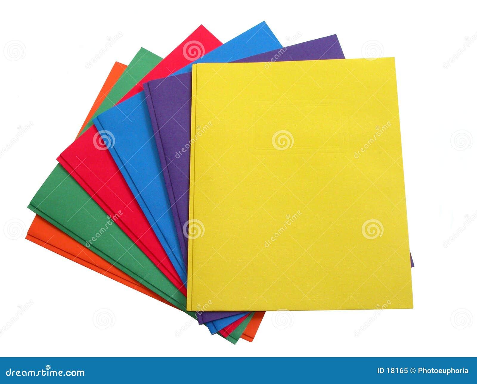 Escuela y oficina: Pila de carpetas coloreadas multi