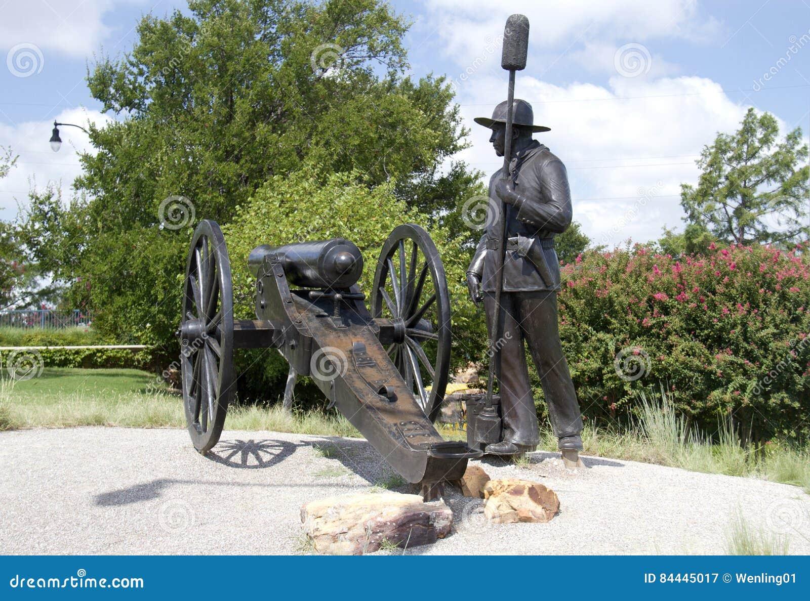 Escultura de bronze na cidade moderna Oklahoma