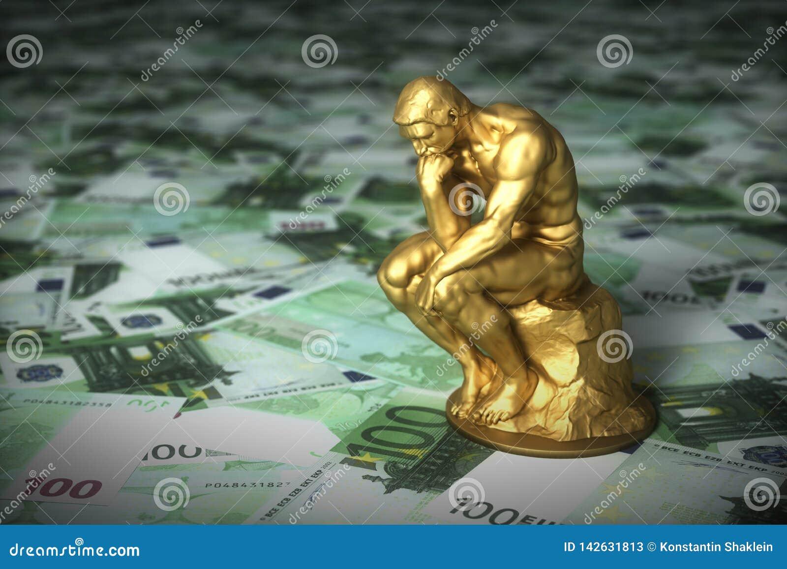Escultura de oro de un pensador que piensa sobre billetes de banco euro