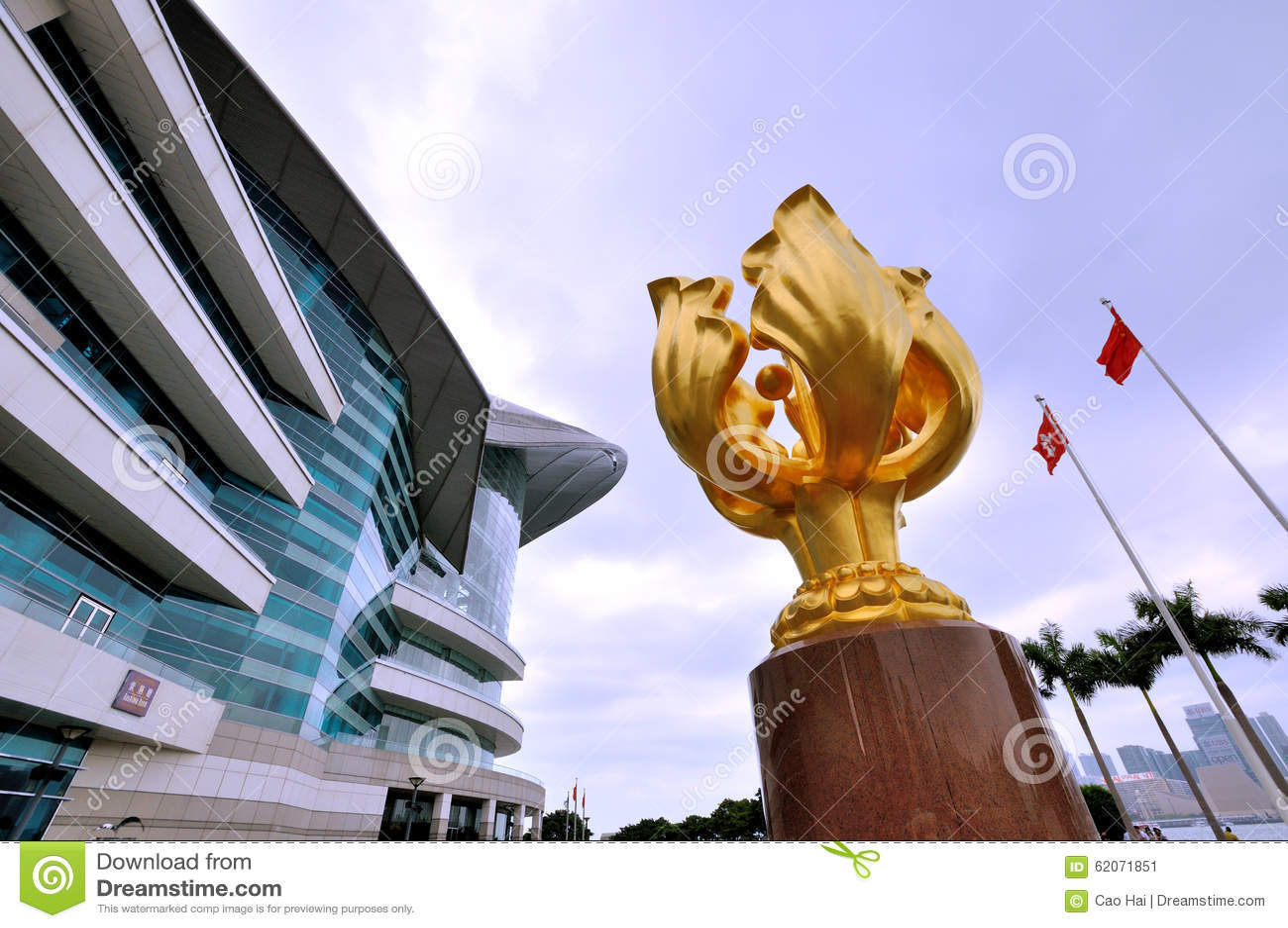 Escultura dourada do Bauhinia na convenção de Hong Kong & no centro de exposição