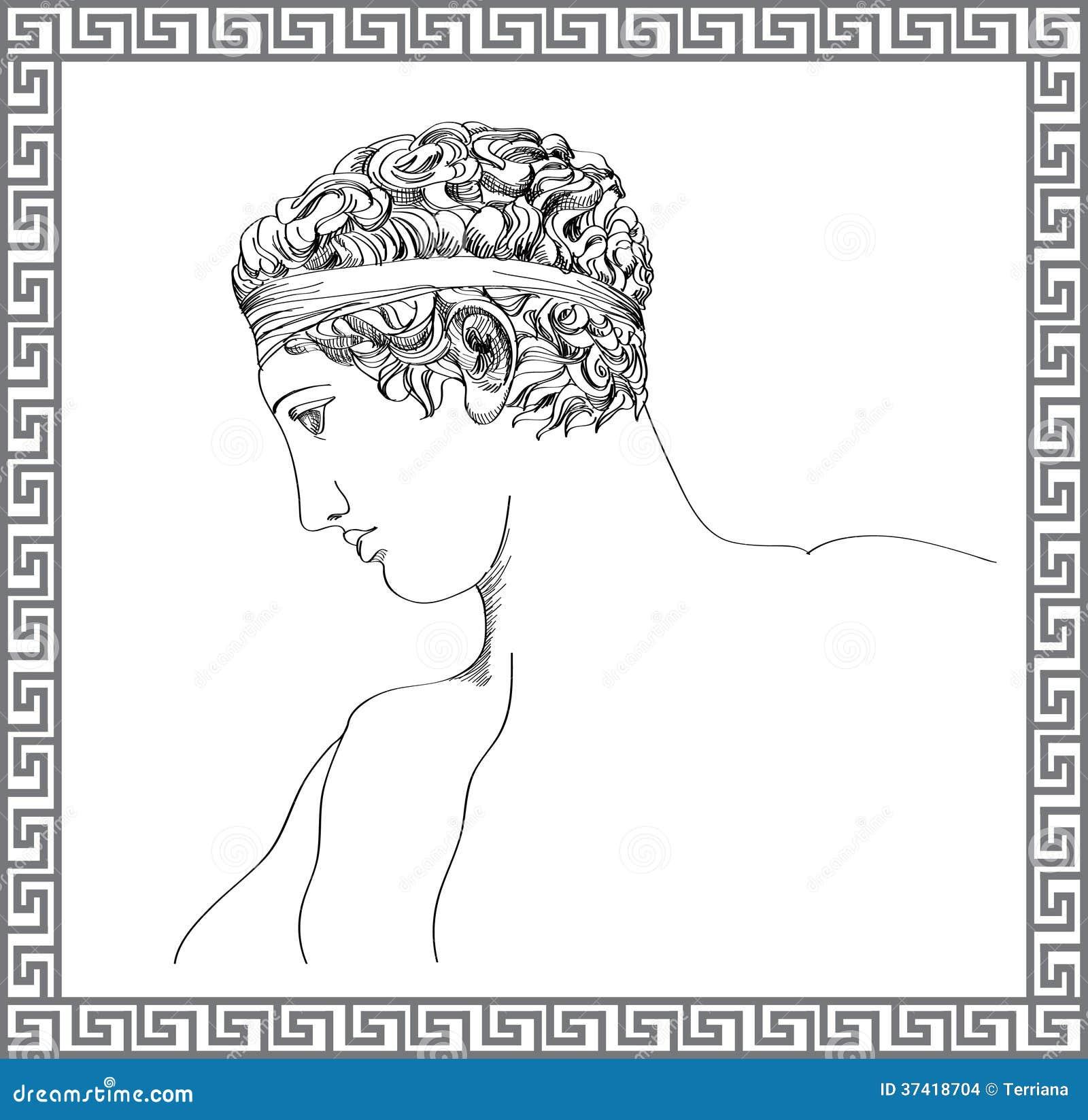 escultura grega esboço tirado mão do vetor ilustração stock